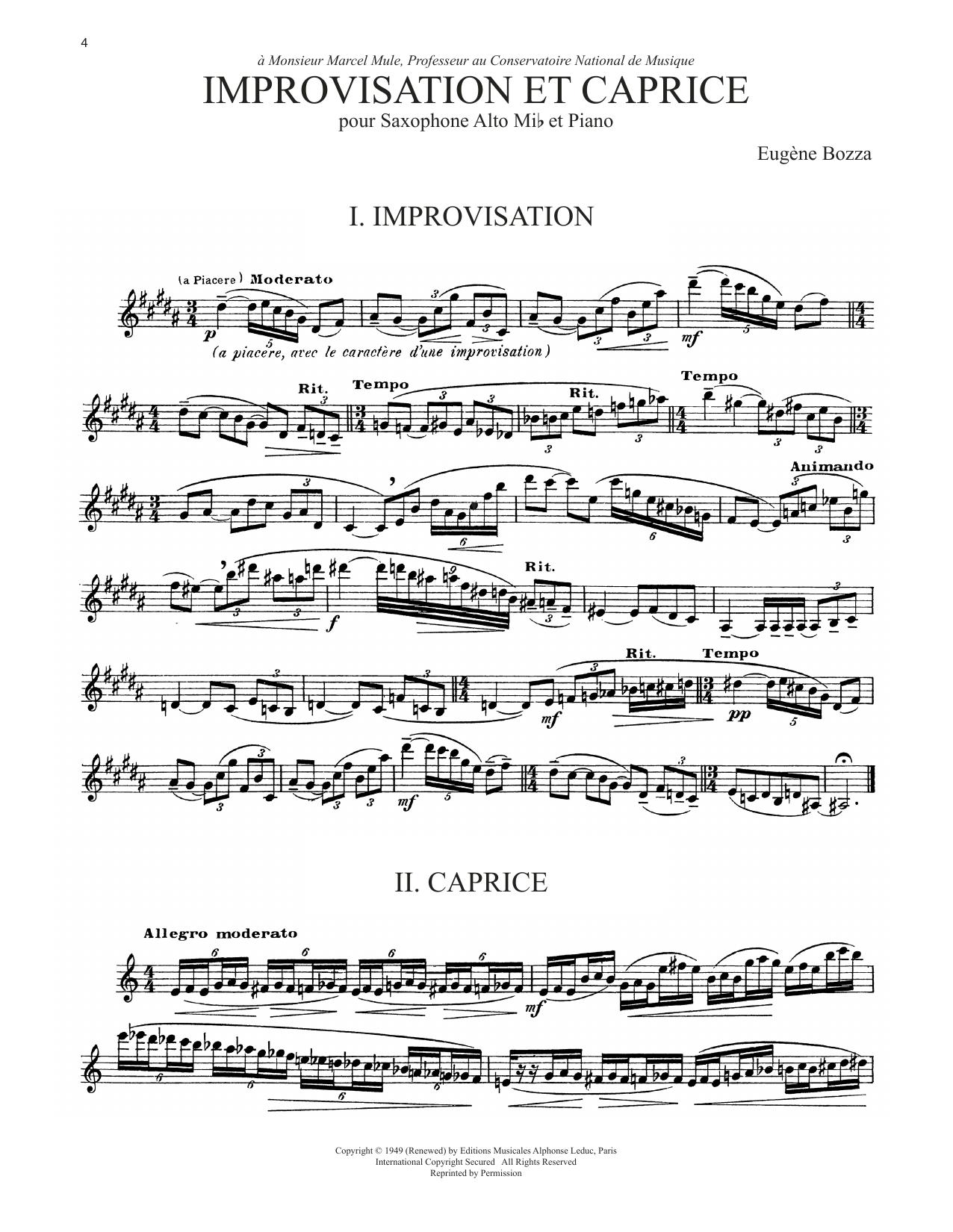 Improvisation Et Caprice (Alto Sax Solo)