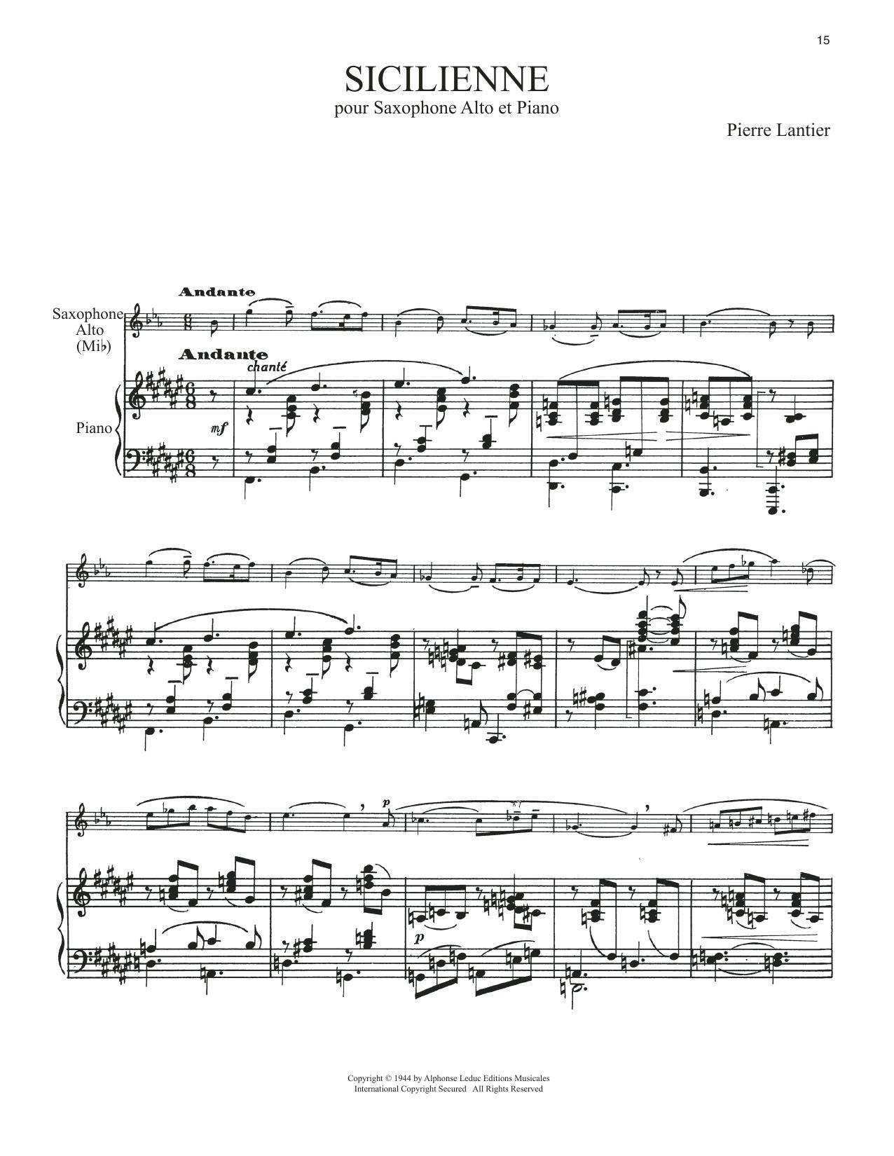 Sicilienne (Alto Sax and Piano)