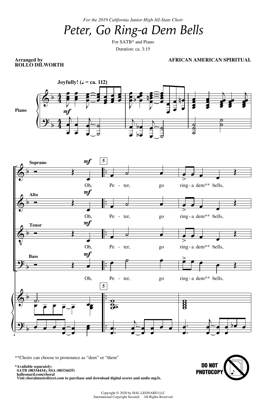 Peter Go Ring-A Dem Bells (arr. Rollo Dilworth) (SATB Choir)