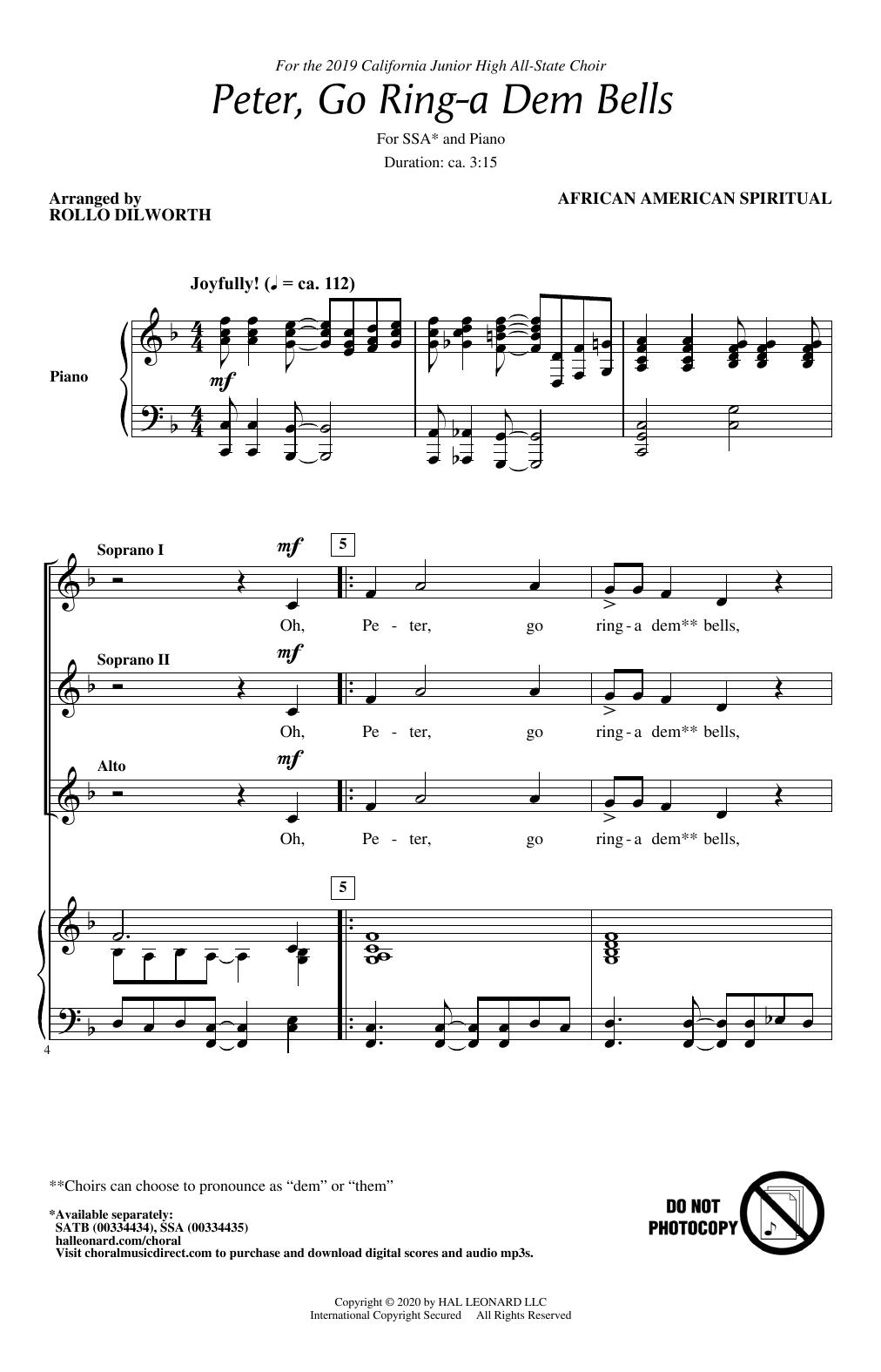 Peter Go Ring-A Dem Bells (arr. Rollo Dilworth) (SSA Choir)