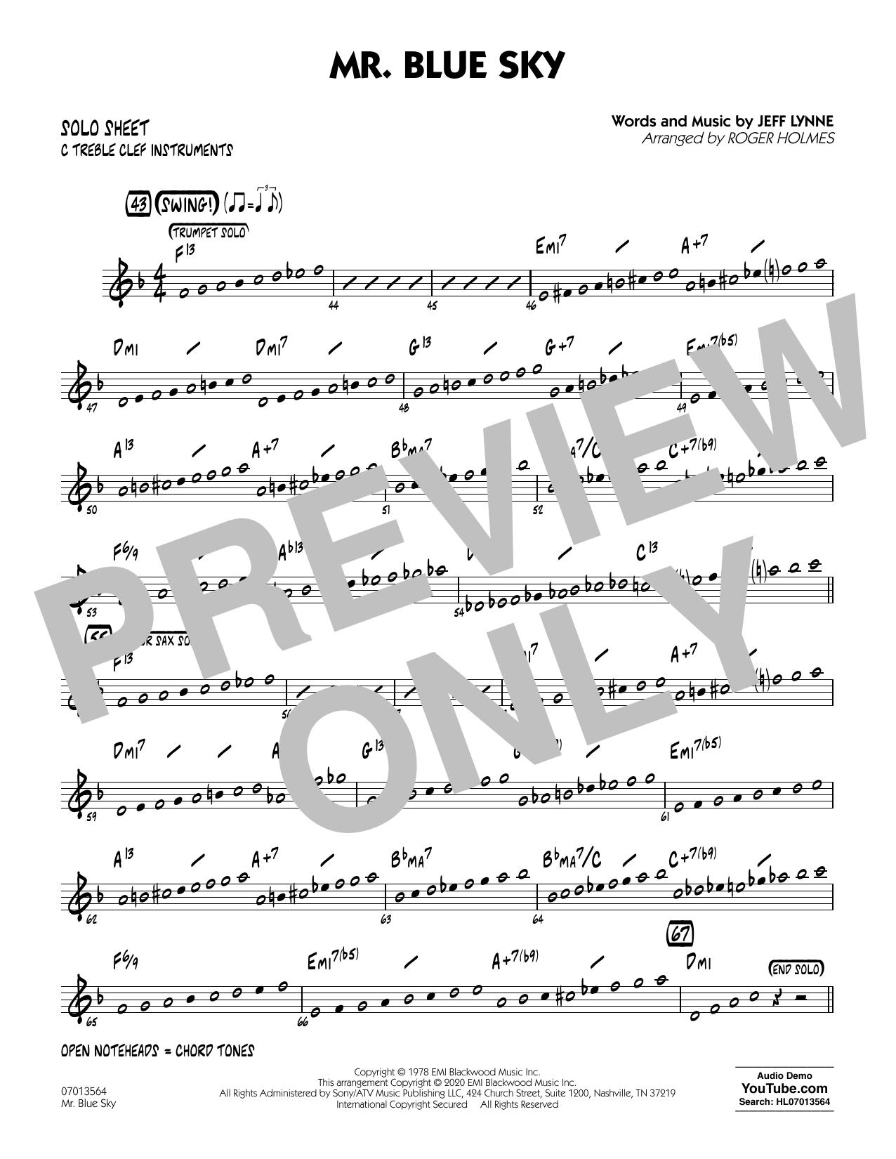 Mr. Blue Sky (arr. Roger Holmes) - C Solo Sheet (Jazz Ensemble)