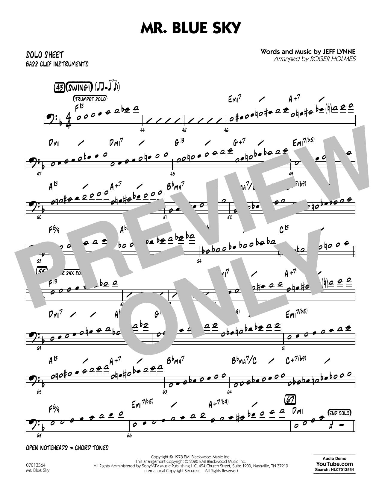 Mr. Blue Sky (arr. Roger Holmes) - Bass Clef Solo Sheet (Jazz Ensemble)
