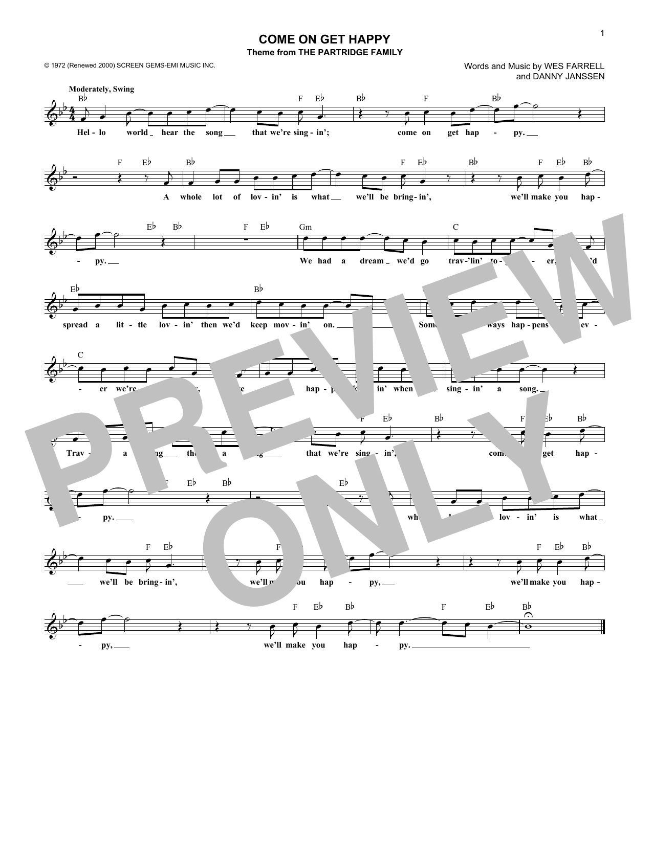 Come On Get Happy Sheet Music