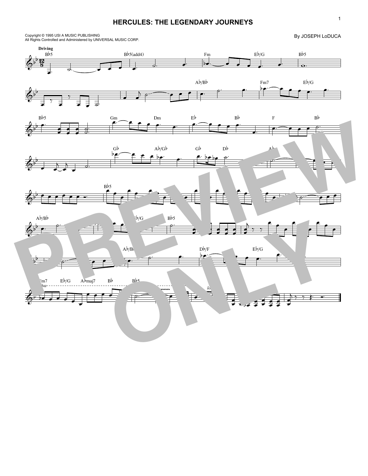 Hercules: The Legendary Journeys (Lead Sheet / Fake Book)