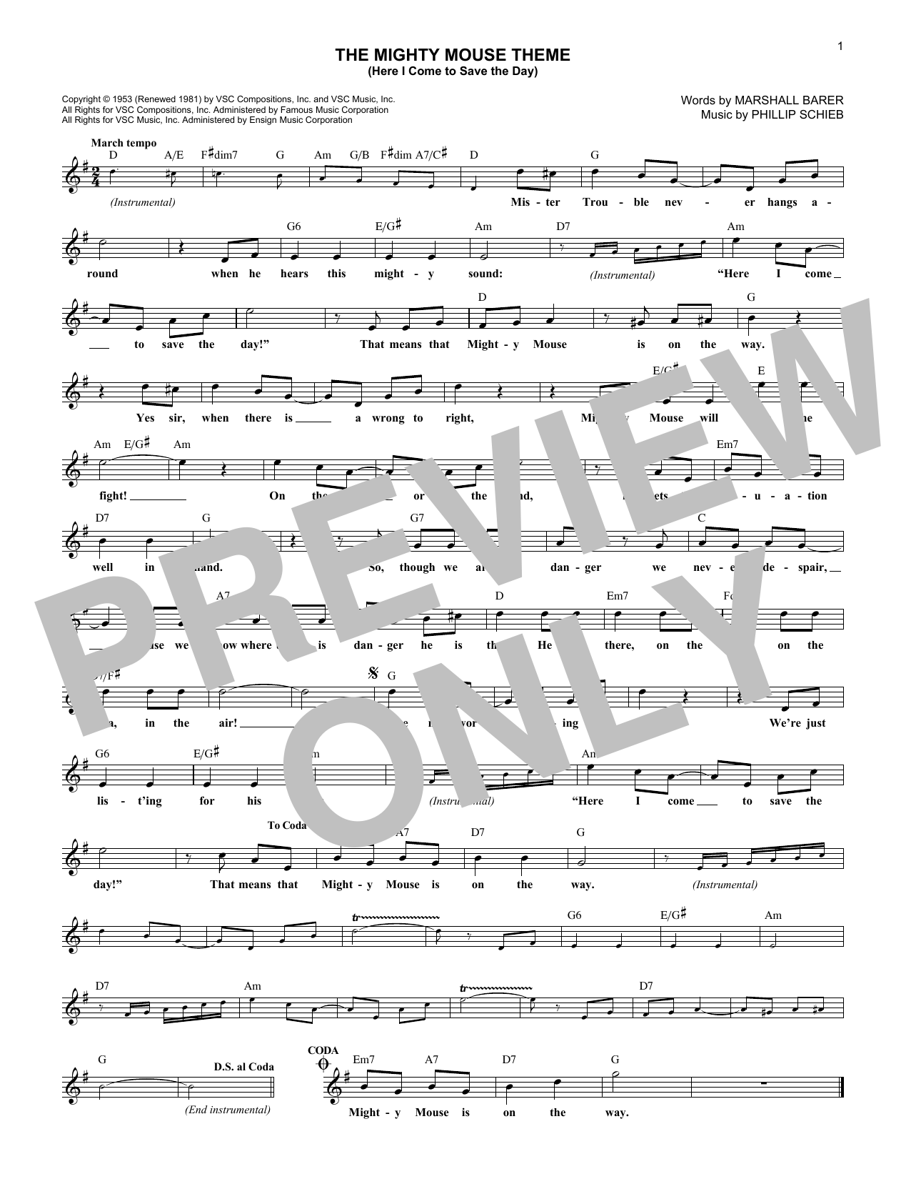 The Mighty Mouse Theme (Here I Come To Save The Day) (Lead Sheet / Fake Book)