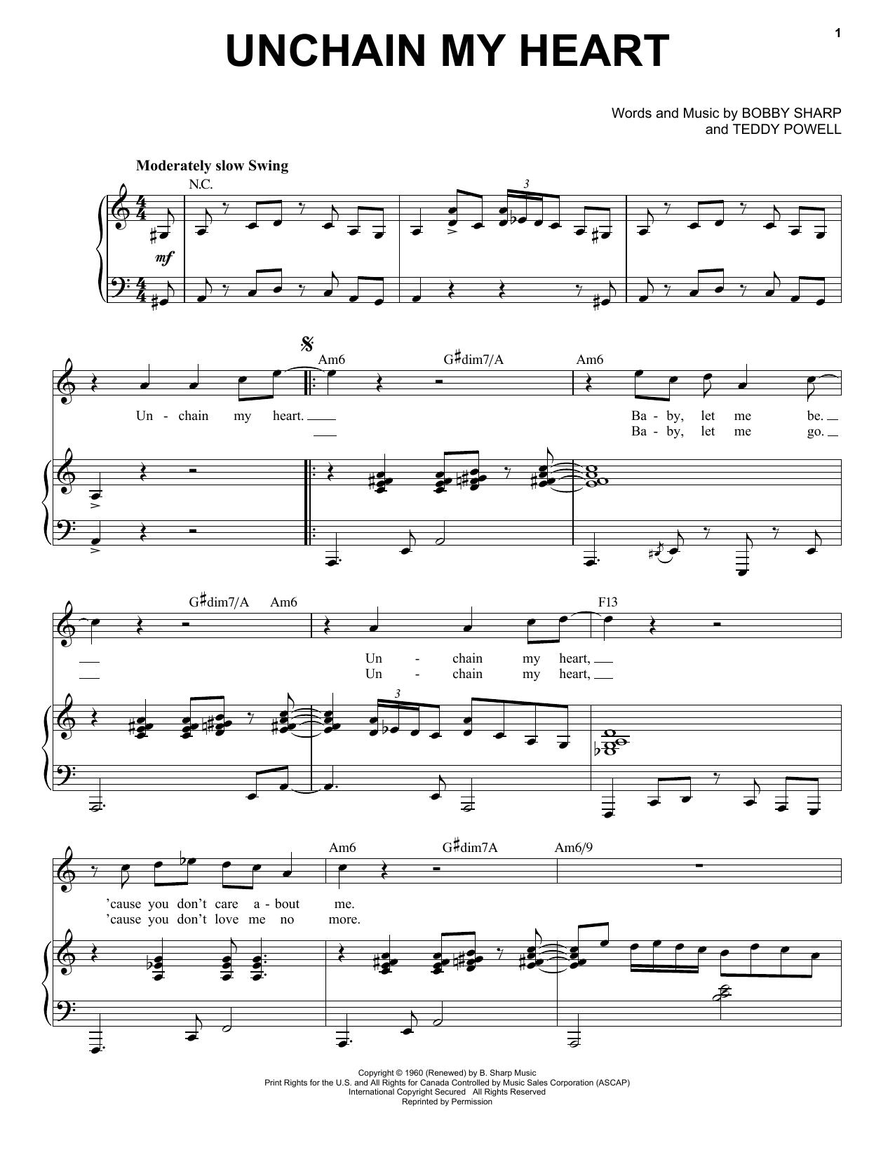 Unchain My Heart [Jazz version] (arr. Brent Edstrom) (Piano & Vocal)