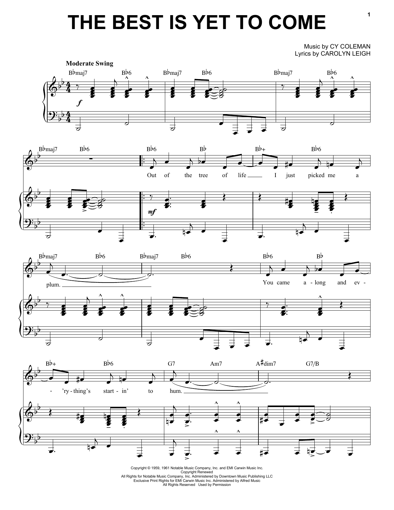 The Best Is Yet To Come [Jazz version] (arr. Brent Edstrom) (Piano & Vocal)