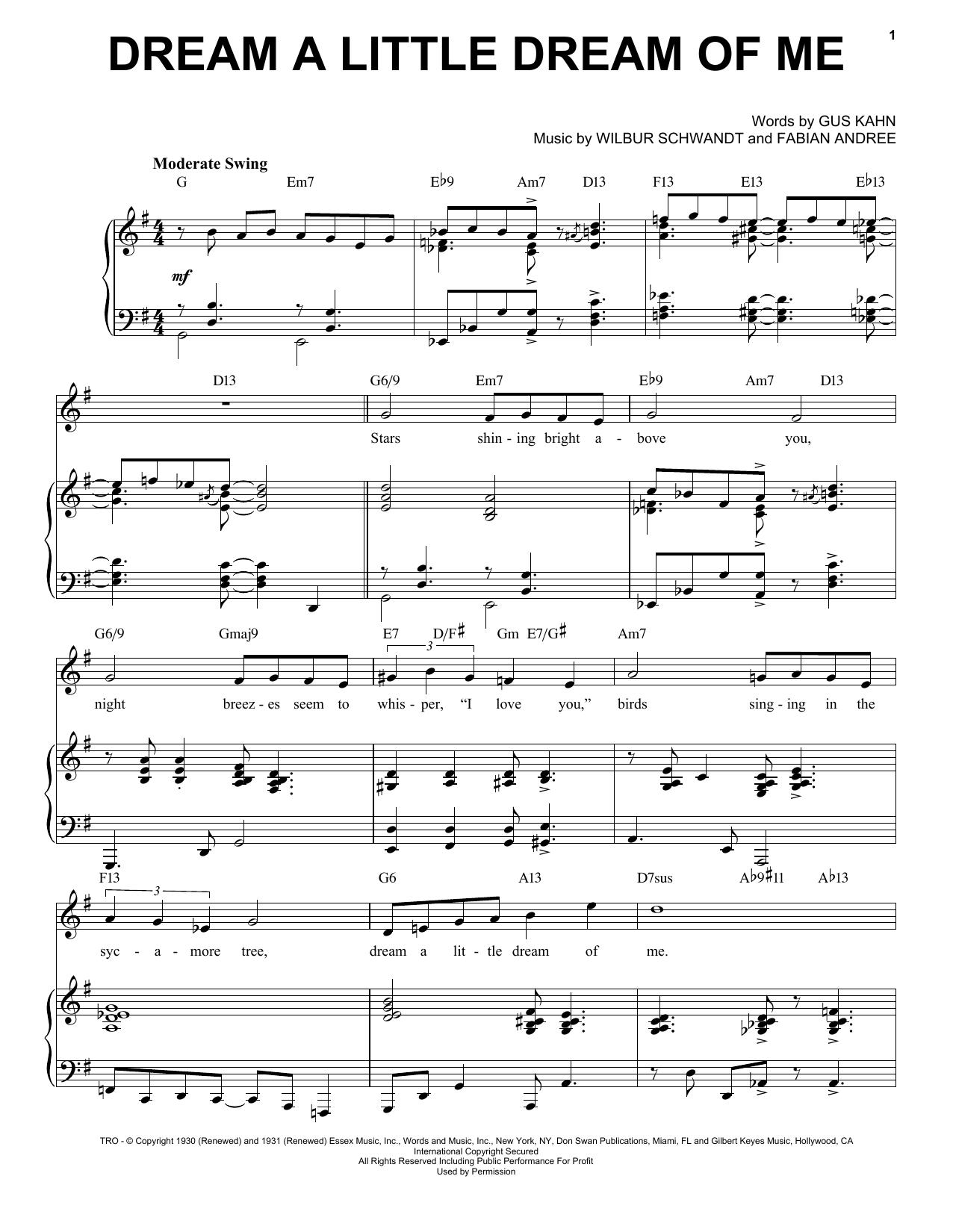 Dream A Little Dream Of Me [Jazz version] (arr. Brent Edstrom) (Piano & Vocal)