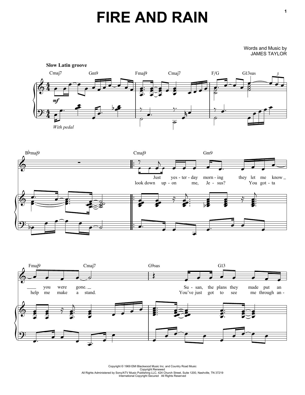Fire And Rain [Jazz version] (arr. Brent Edstrom) (Piano & Vocal)