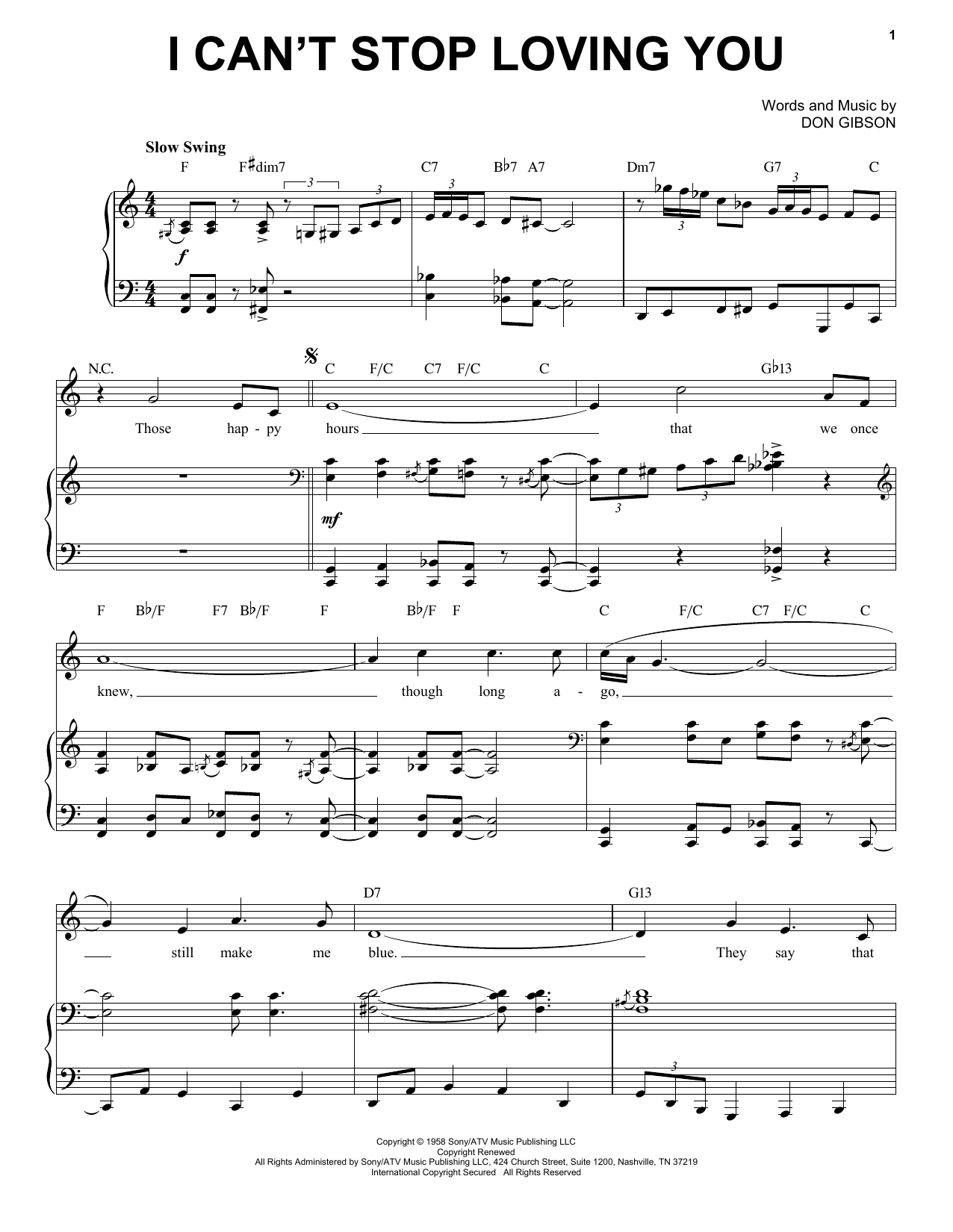 I Can't Stop Loving You [Jazz version] (arr. Brent Edstrom) (Piano & Vocal)