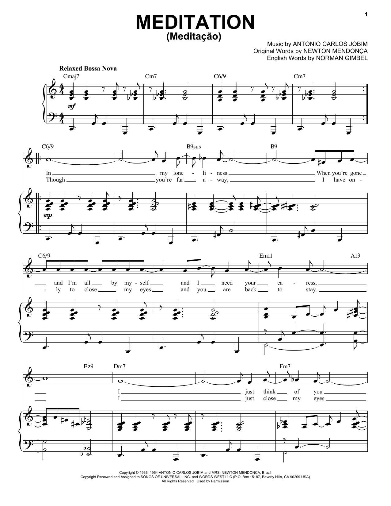 Meditation (Meditacao) [Jazz version] (arr. Brent Edstrom) (Piano & Vocal)