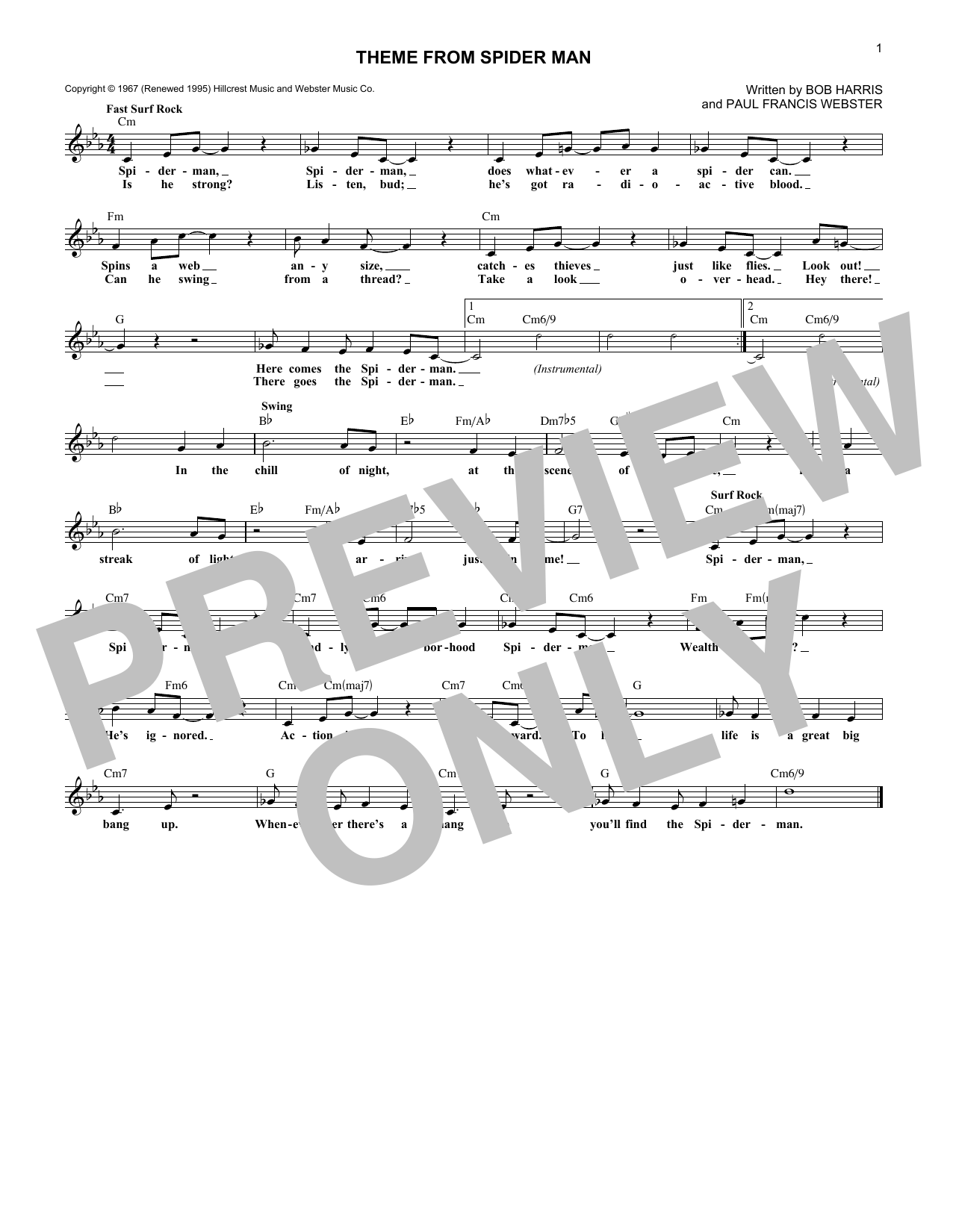 Theme From Spider-Man (Lead Sheet / Fake Book)