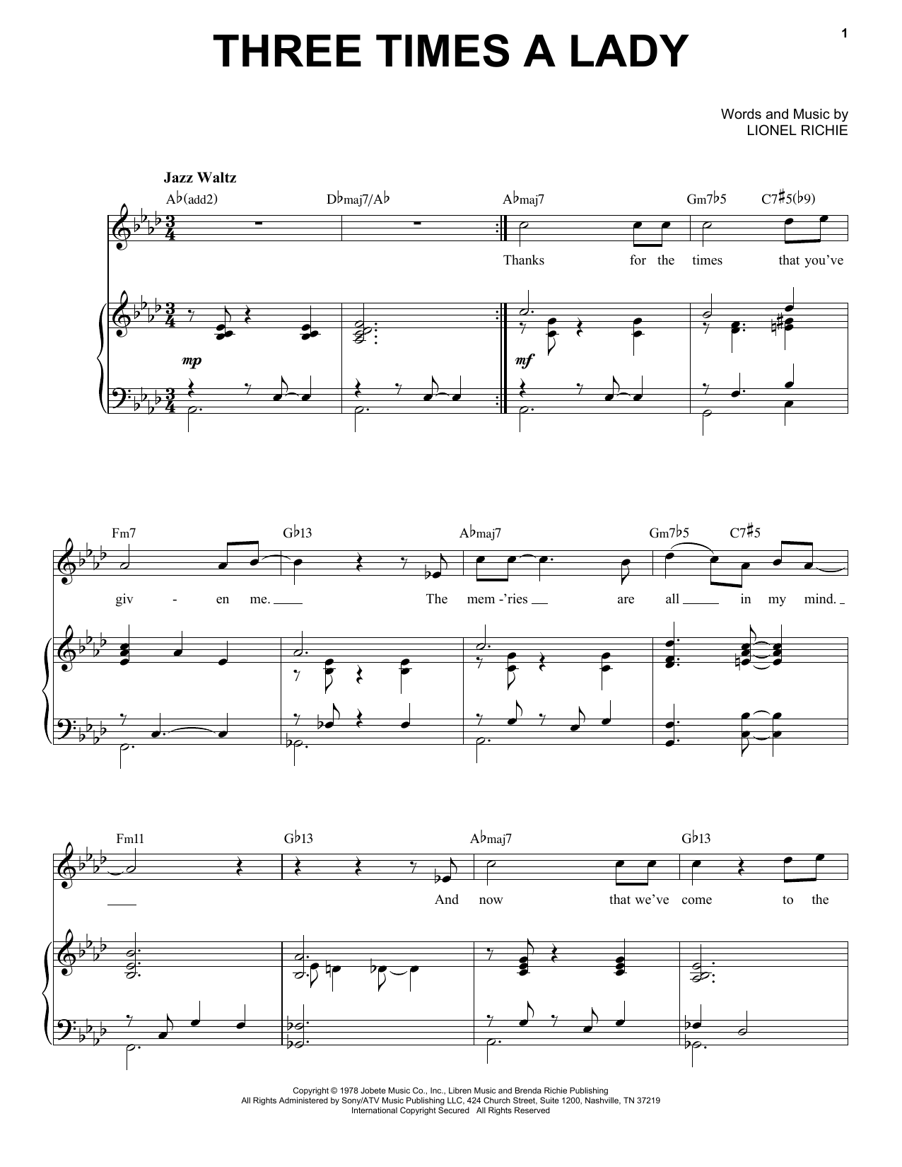 Three Times A Lady [Jazz version] (arr. Brent Edstrom) (Piano & Vocal)