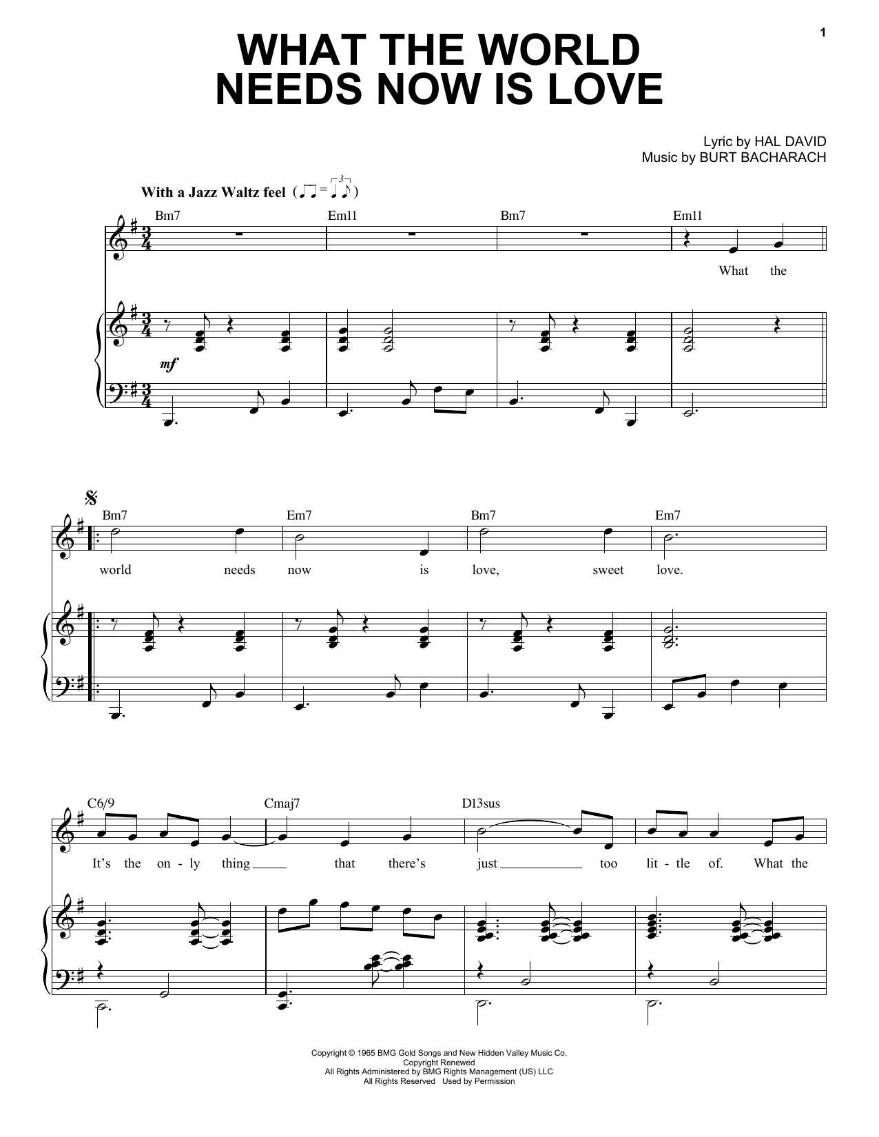 What The World Needs Now Is Love [Jazz version] (arr. Brent Edstrom) (Piano & Vocal)