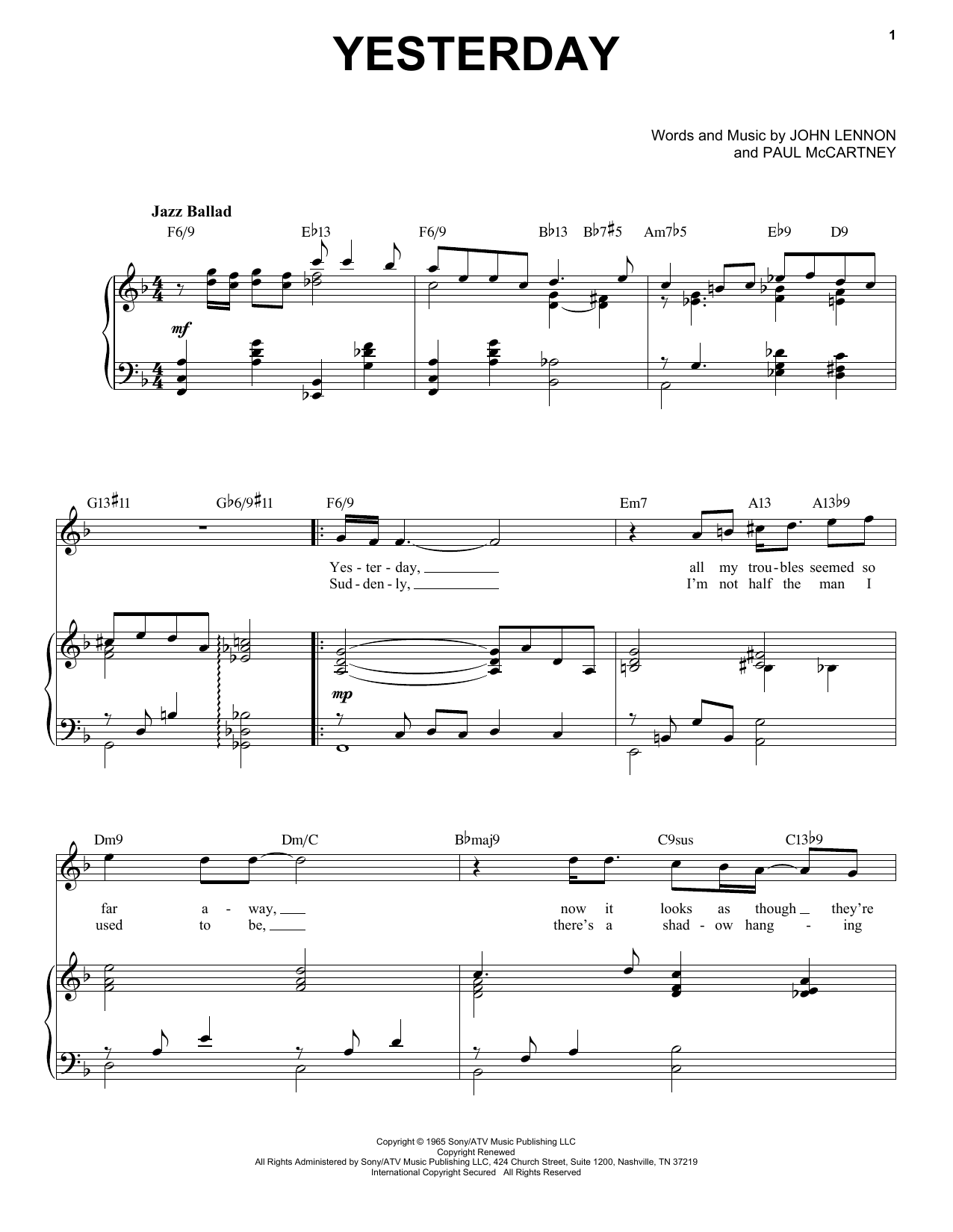 Yesterday [Jazz version] (arr. Brent Edstrom) (Piano & Vocal)