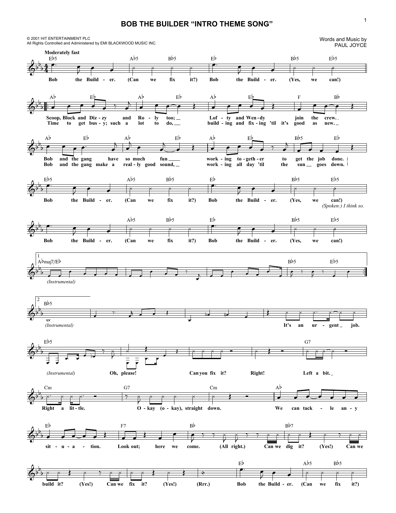 "Bob The Builder ""Intro Theme Song"" Sheet Music"