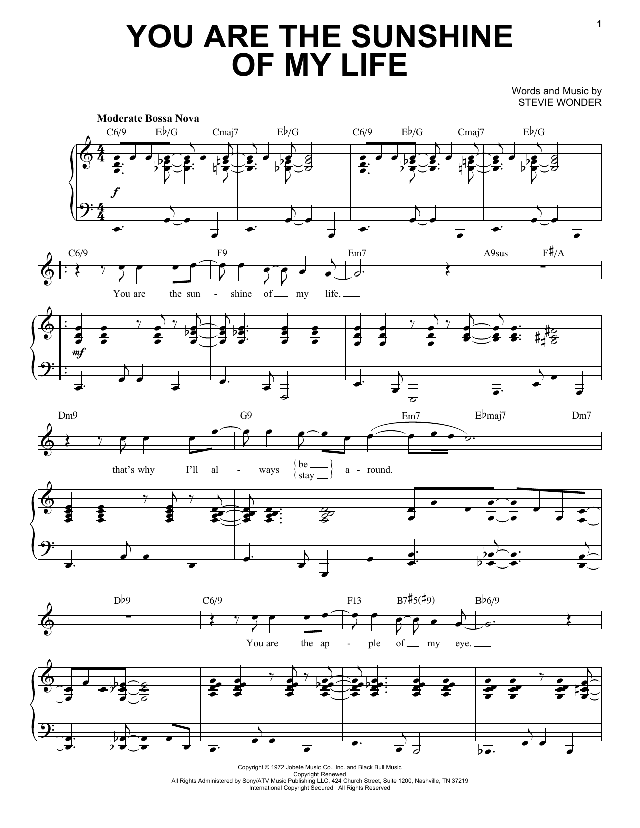 You Are The Sunshine Of My Life [Jazz version] (arr. Brent Edstrom) (Piano & Vocal)