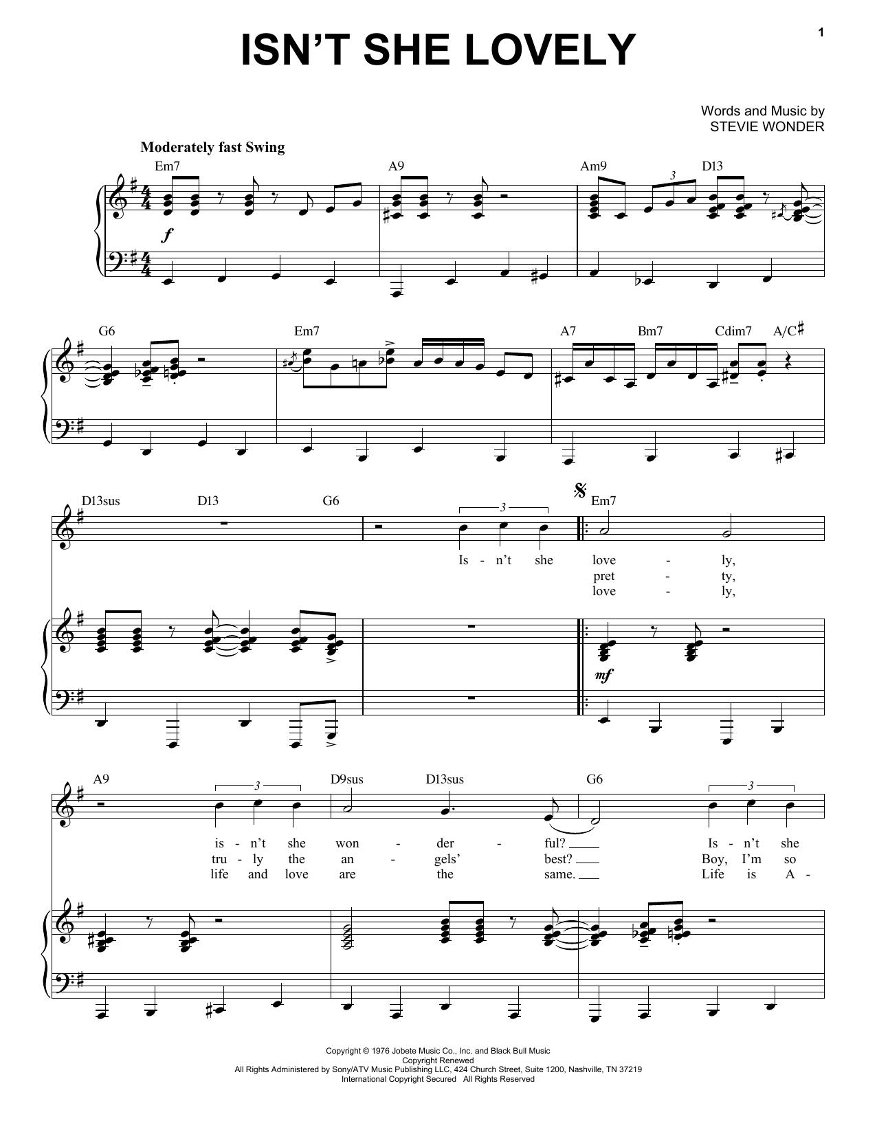 Isn't She Lovely [Jazz version] (arr. Brent Edstrom) (Piano & Vocal)