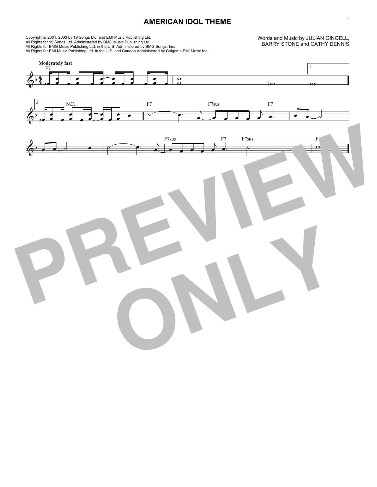American Idol Theme (Lead Sheet / Fake Book)
