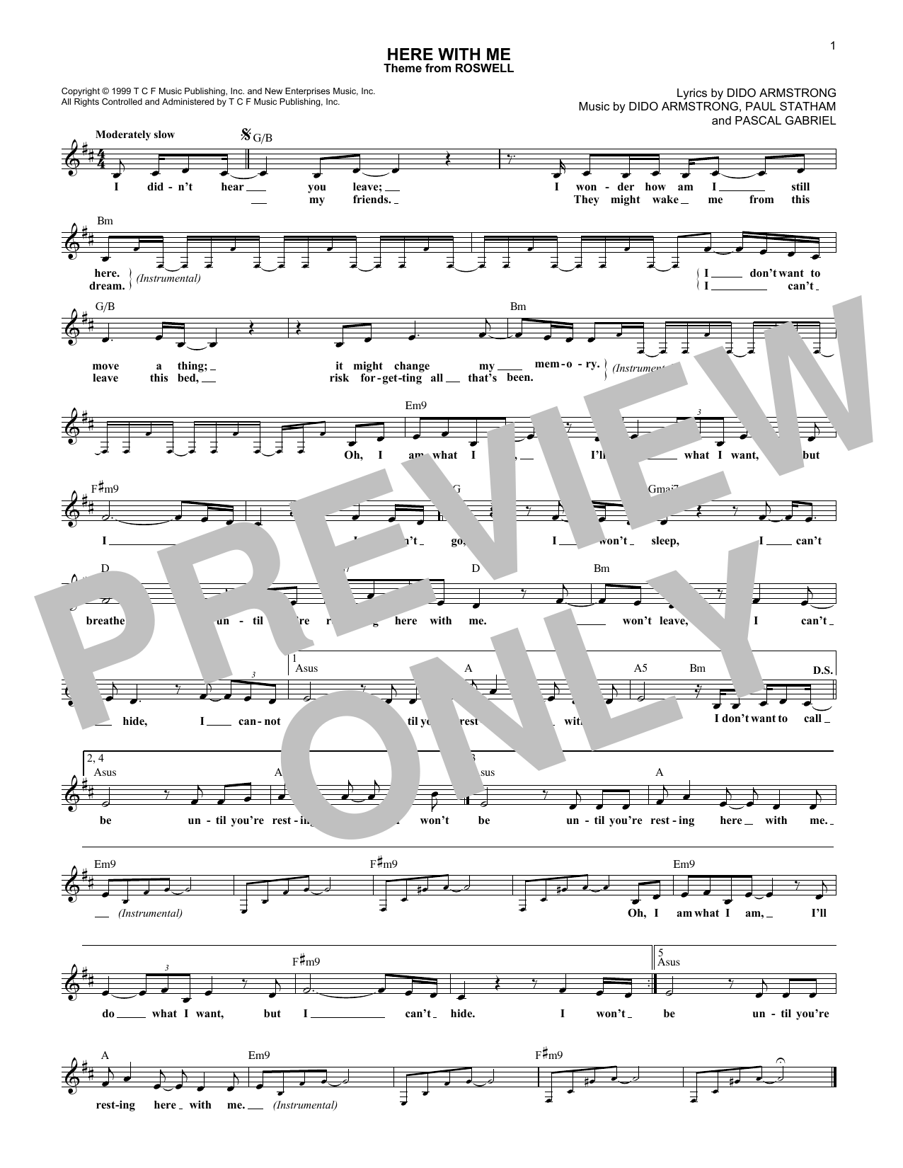 Here With Me (Lead Sheet / Fake Book)
