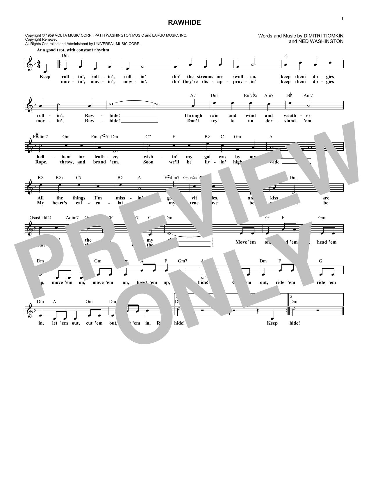 Rawhide (Lead Sheet / Fake Book)