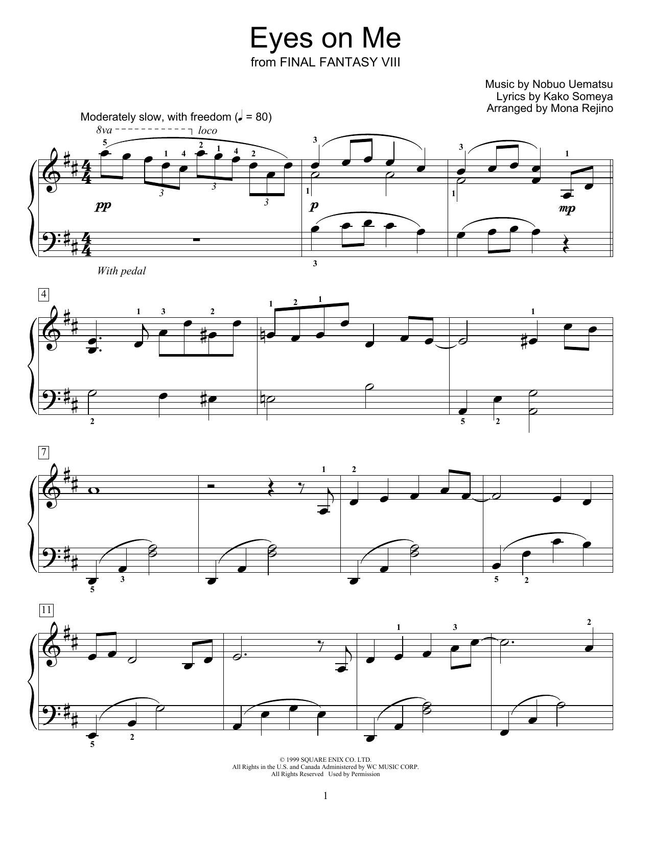 Eyes On Me (from Final Fantasy VIII) (arr. Mona Rejino) (Educational Piano)