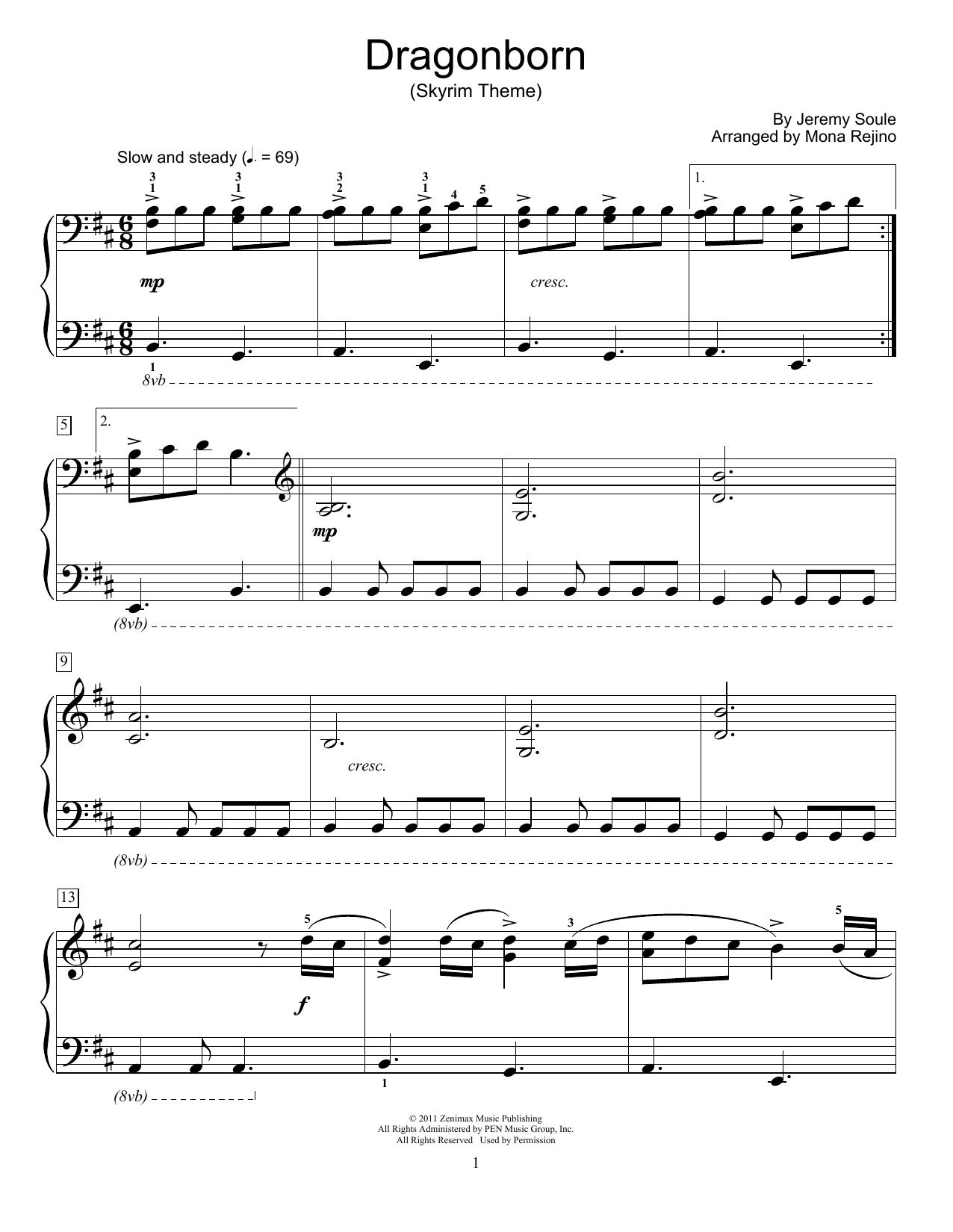 Dragonborn (Skyrim Theme) (arr. Mona Rejino) (Educational Piano)