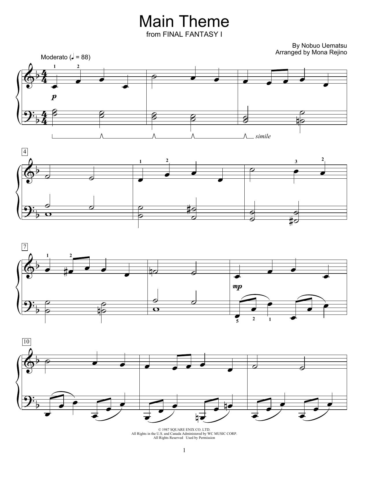 Main Theme (from Final Fantasy I) (arr. Mona Rejino) (Educational Piano)
