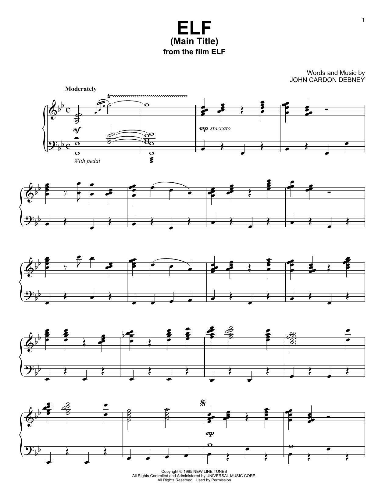 Elf (Main Title) (Piano Solo)