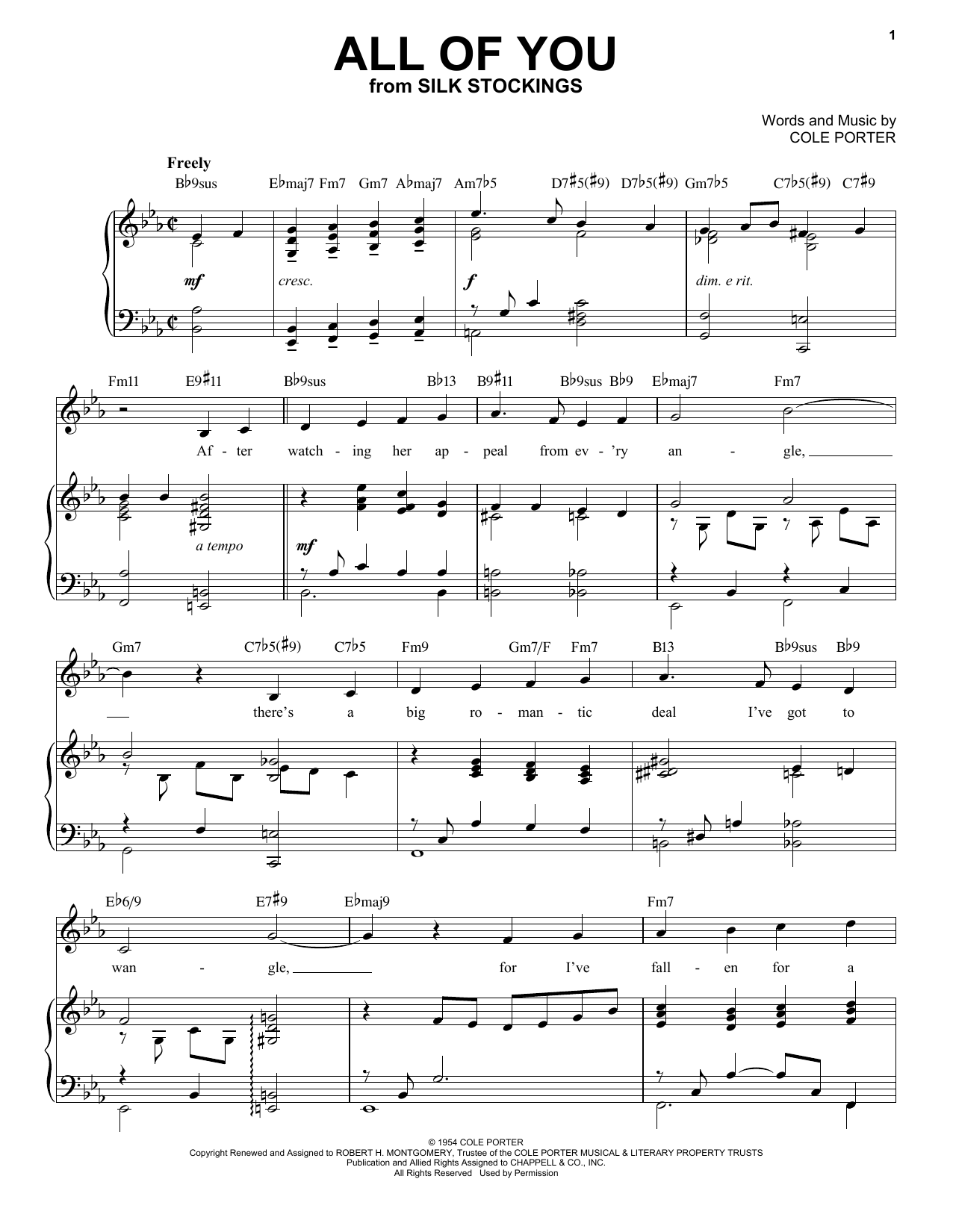 All Of You [Jazz version] (from Silk Stockings) (arr. Brent Edstrom) (Piano & Vocal)