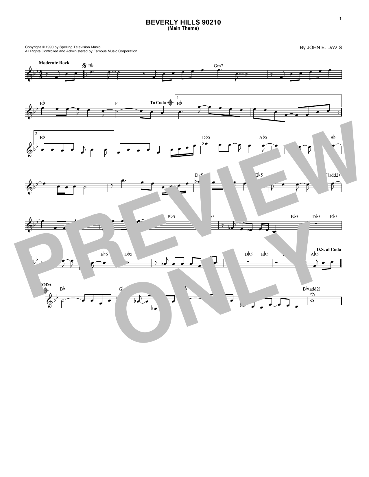 Beverly Hills 90210 (Main Theme) (Lead Sheet / Fake Book)