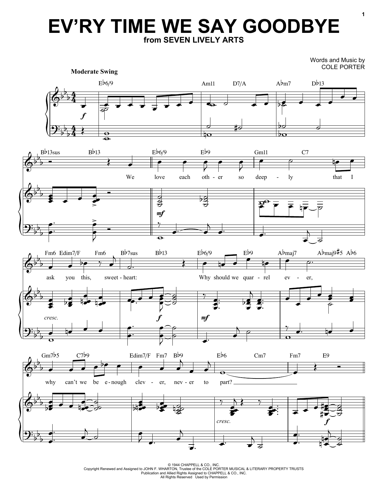 Ev'ry Time We Say Goodbye [Jazz version] (from Seven Lively Arts) (arr. Brent Edstrom) (Piano & Vocal)