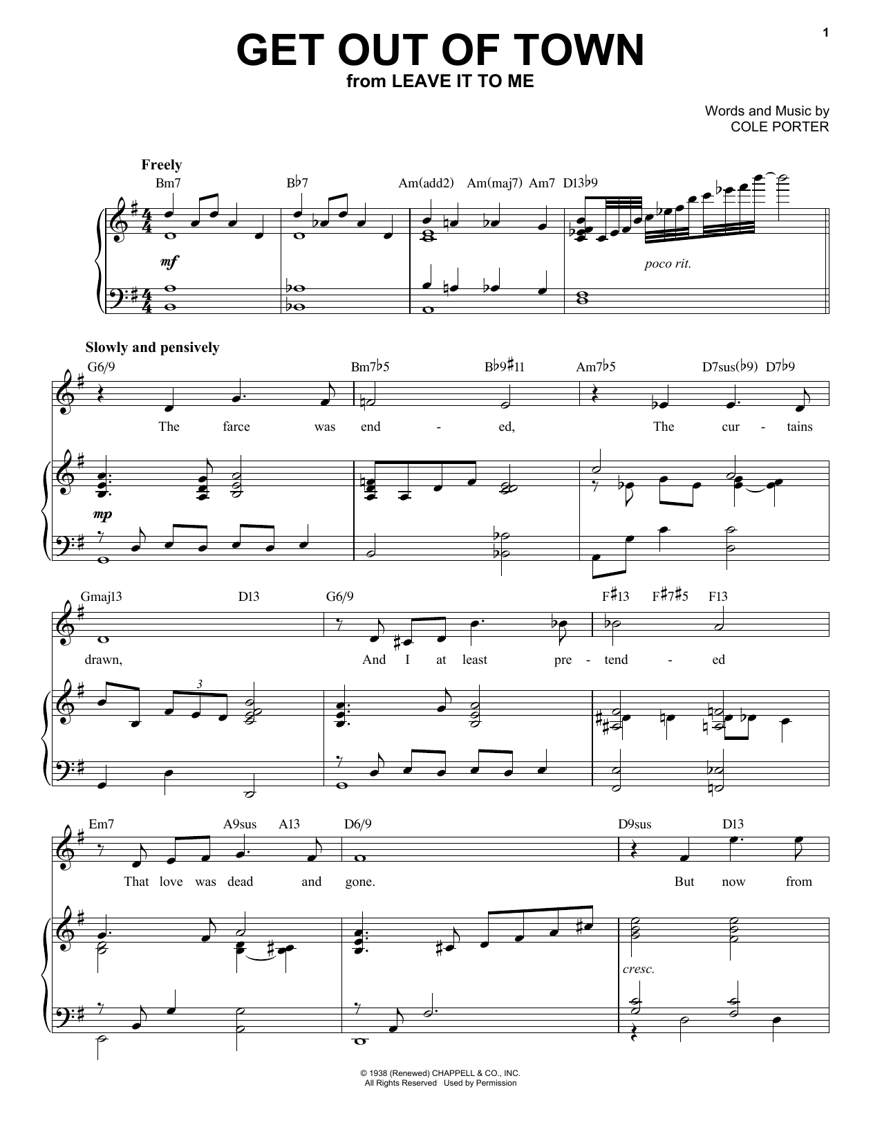 Get Out Of Town [Jazz version] (from Leave It To Me) (arr. Brent Edstrom) (Piano & Vocal)