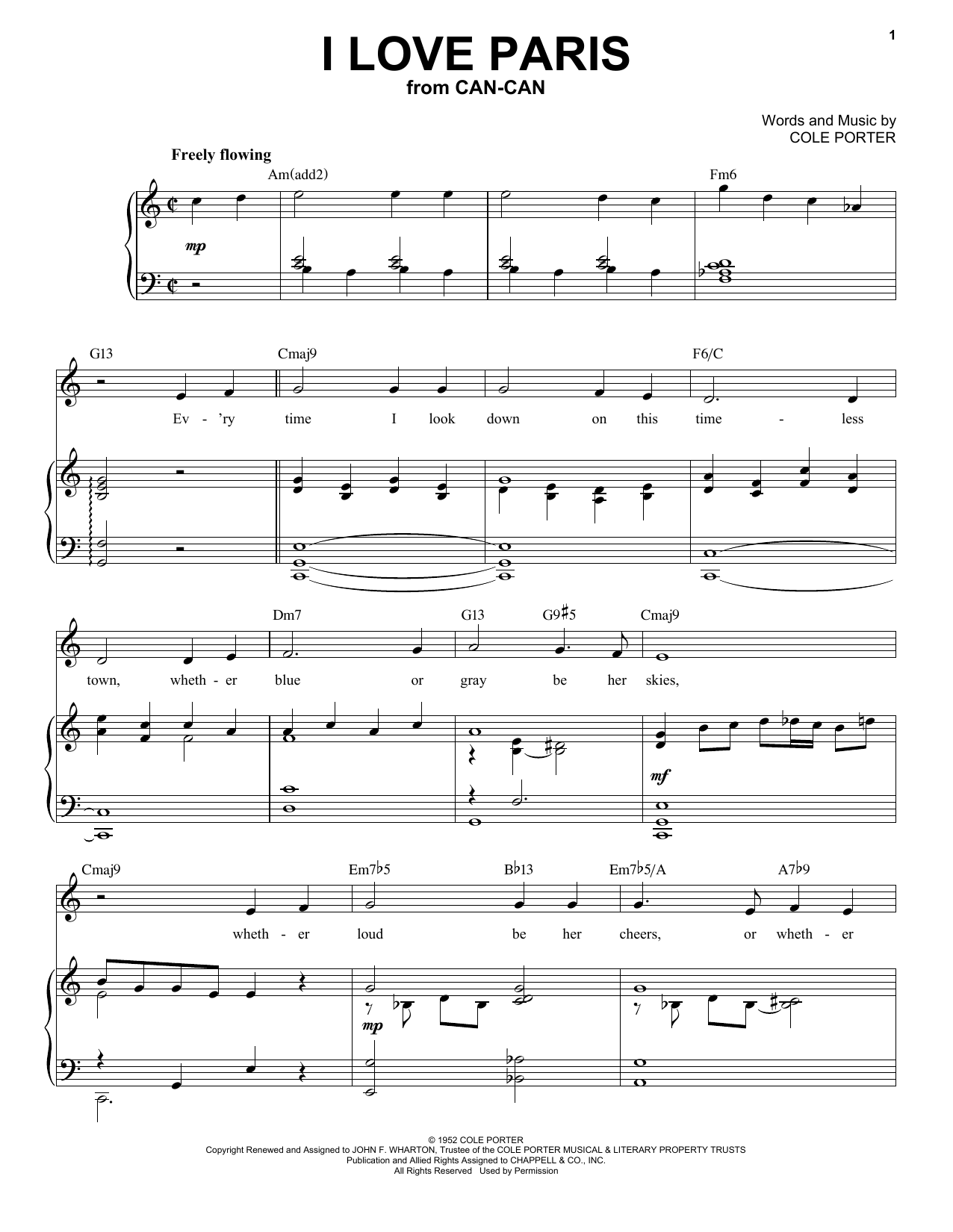I Love Paris [Jazz version] (from Can-Can) (arr. Brent Edstrom) (Piano & Vocal)