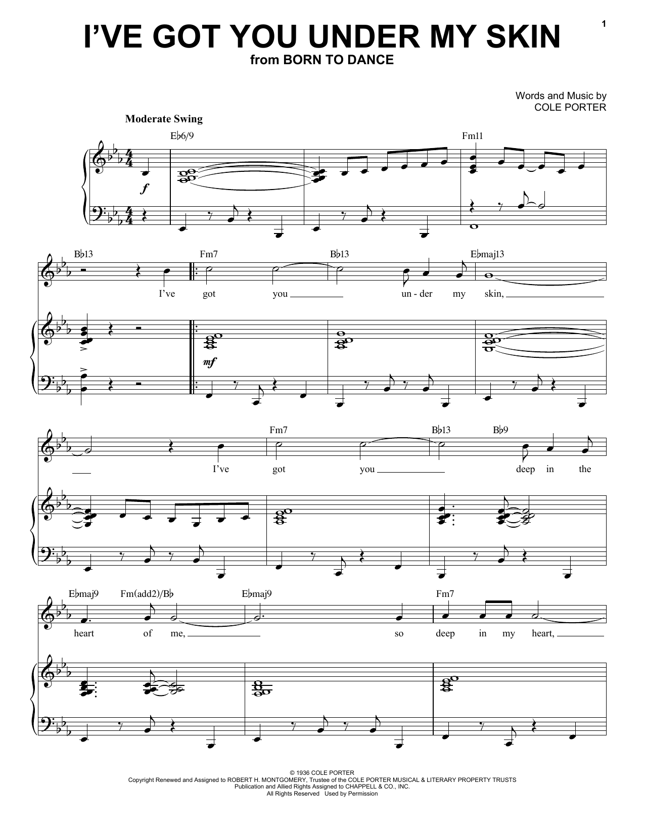 I've Got You Under My Skin [Jazz version] (from Born To Dance) (arr. Brent Edstrom) (Piano & Vocal)