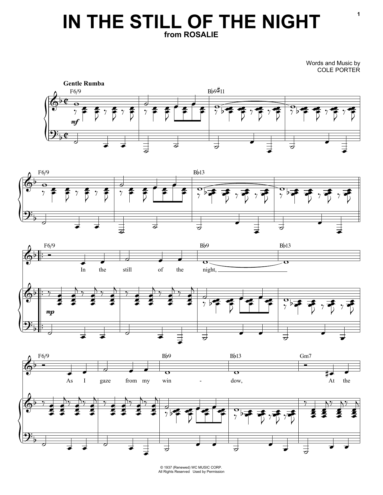 In The Still Of The Night [Jazz version] (from Rosalie) (arr. Brent Edstrom) (Piano & Vocal)