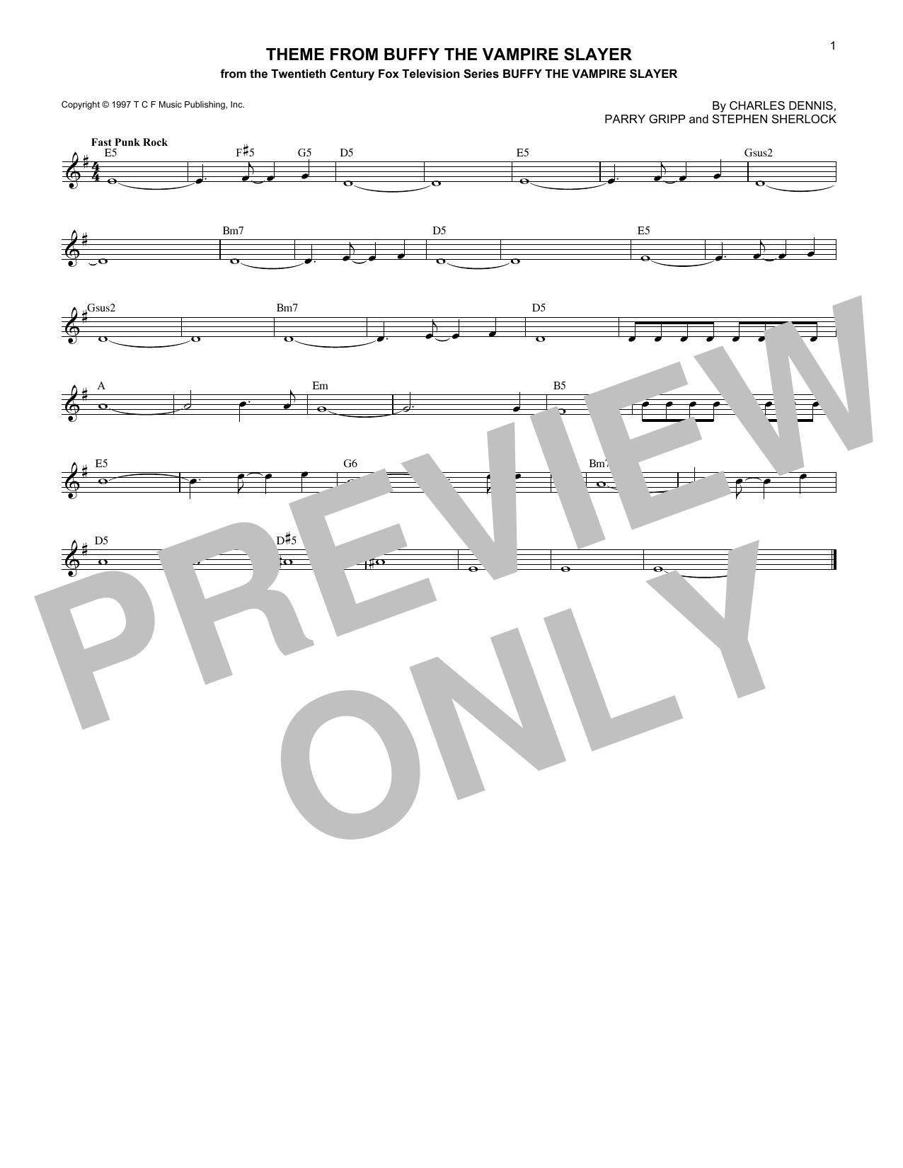 Theme from Buffy The Vampire Slayer (Melody Line, Lyrics & Chords)