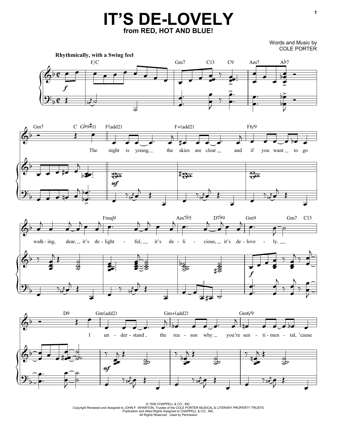 It's De-Lovely [Jazz version] (from Red, Hot And Blue!) (arr. Brent Edstrom) (Piano & Vocal)