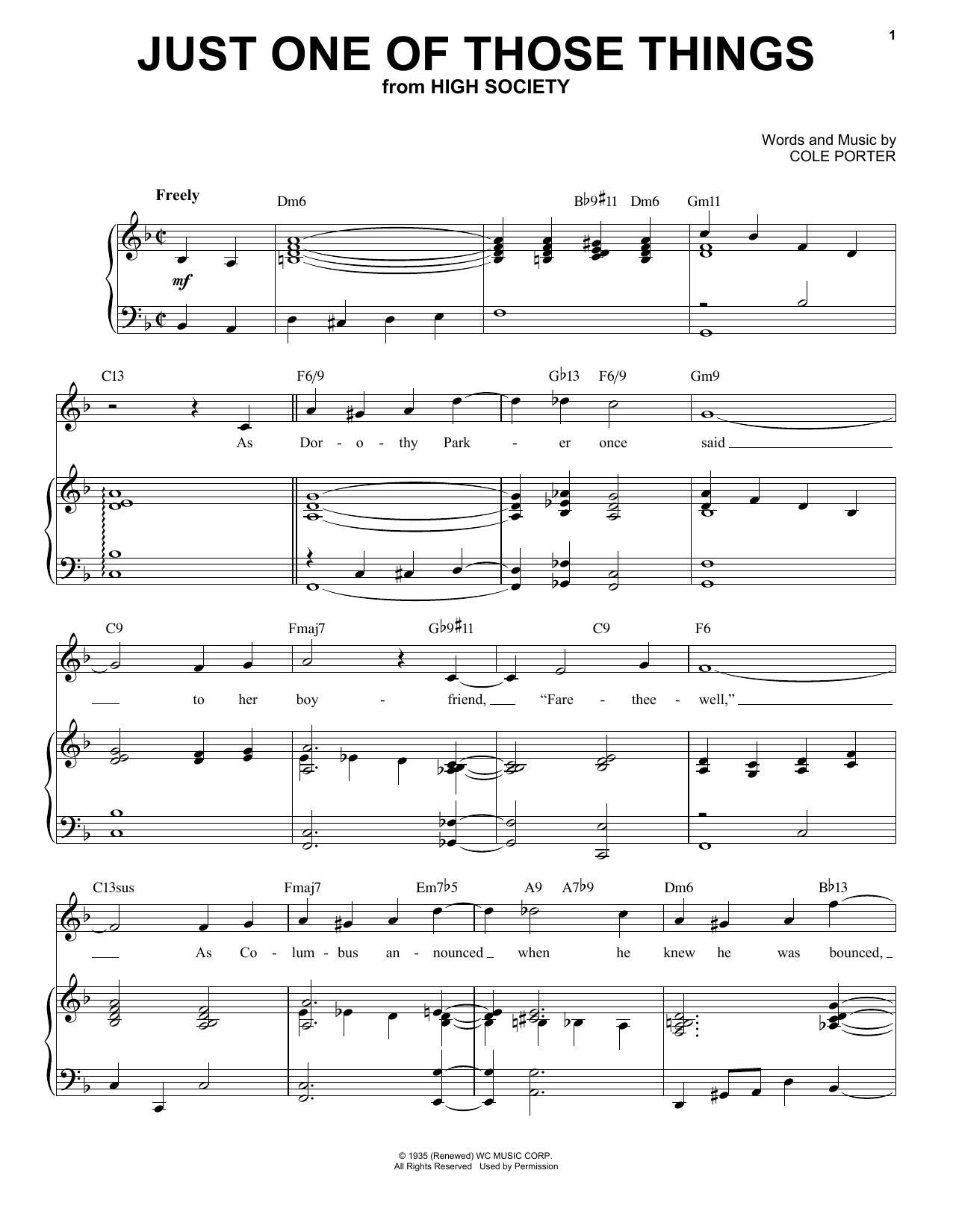 Just One Of Those Things [Jazz version] (from High Society) (arr. Brent Edstrom) (Piano & Vocal)