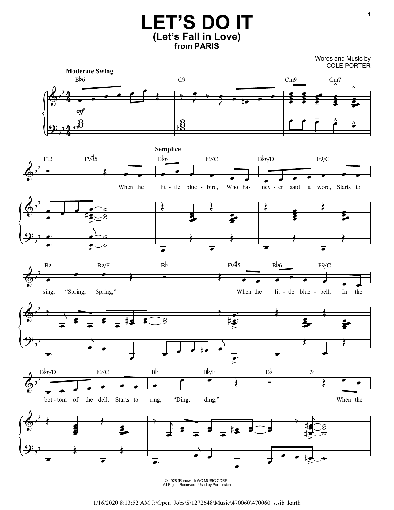 Let's Do It (Let's Fall In Love) [Jazz version] (from Paris) (arr. Brent Edstrom) (Piano & Vocal)