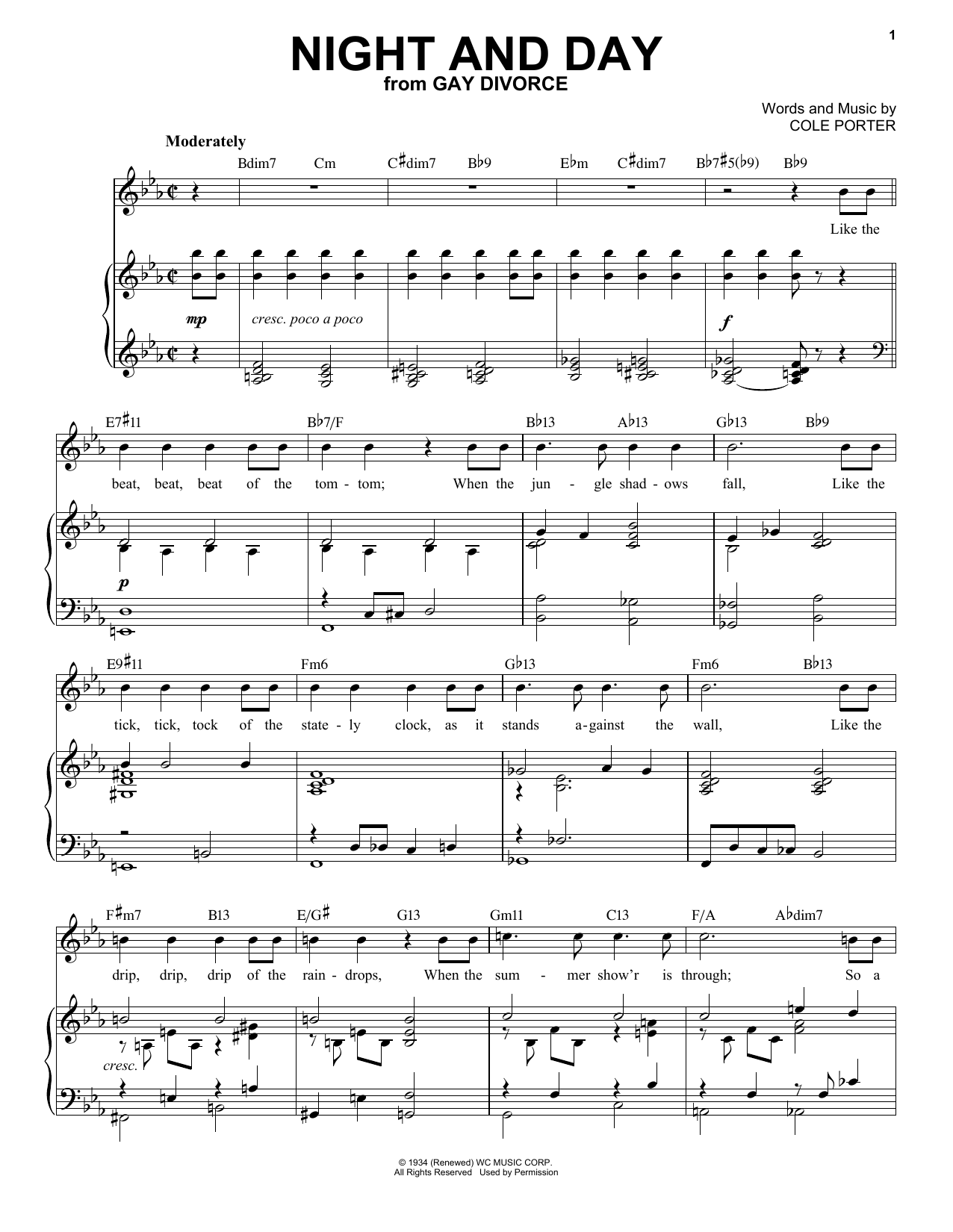 Night And Day [Jazz version] (from Gay Divorce) (arr. Brent Edstrom) (Piano & Vocal)