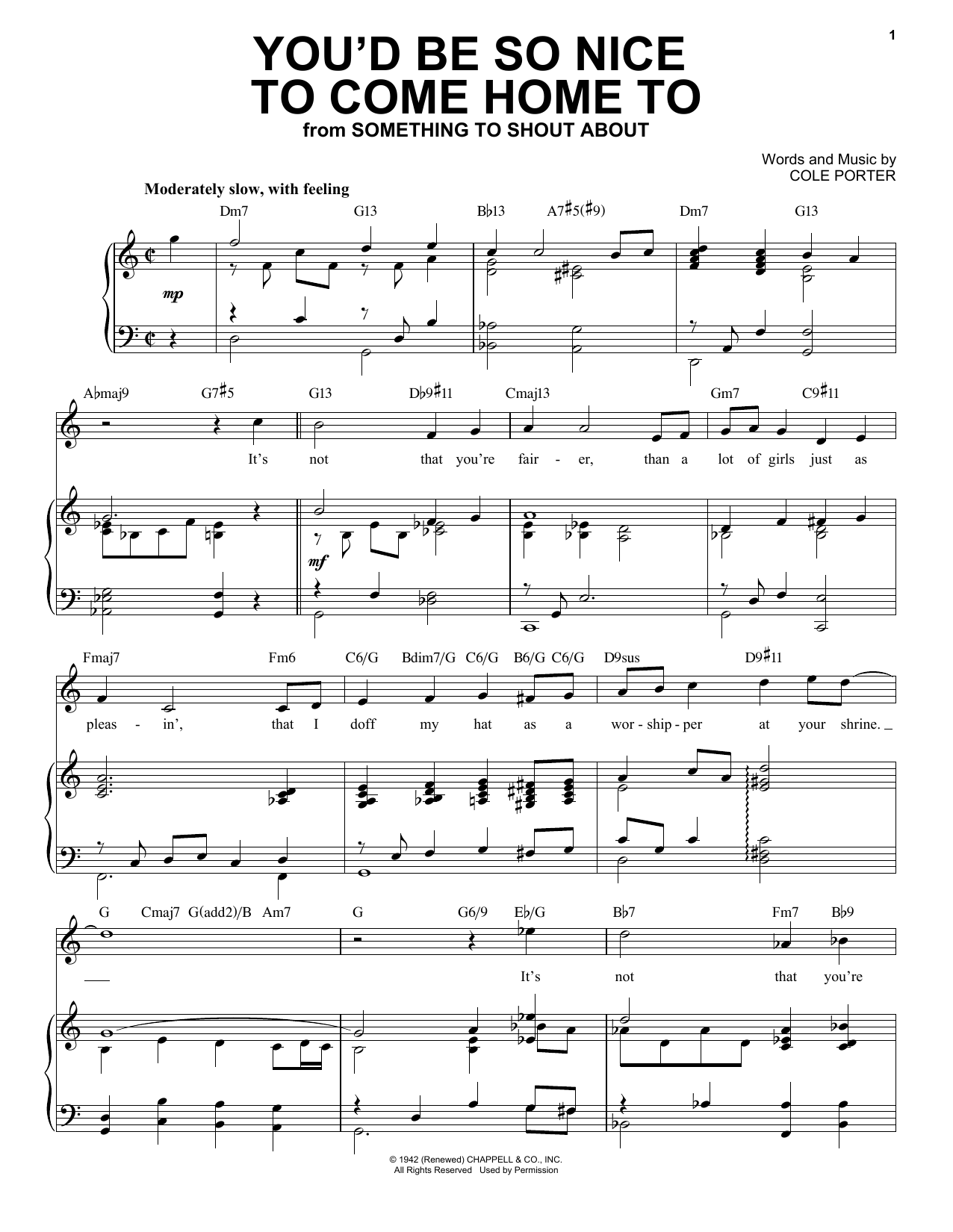 You'd Be So Nice To Come Home To [Jazz version] (from Something To Shout About) (arr. Brent Edstrom) (Piano & Vocal)
