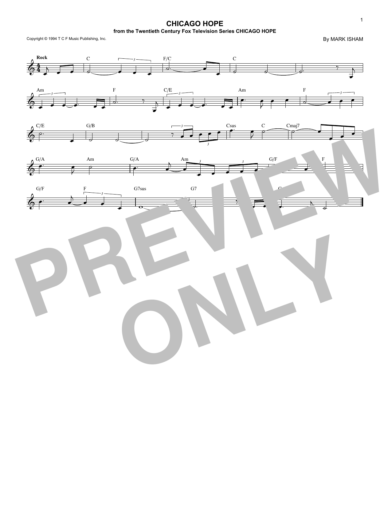 Chicago Hope Sheet Music