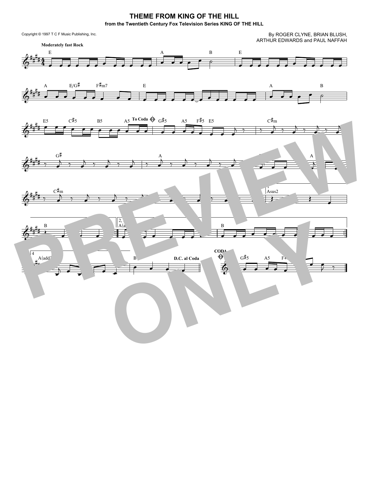 Theme From King Of The Hill Sheet Music