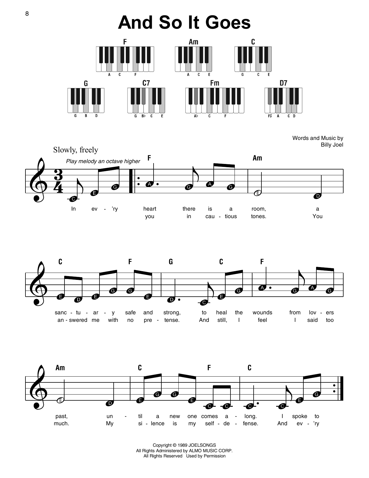 And So It Goes Sheet Music
