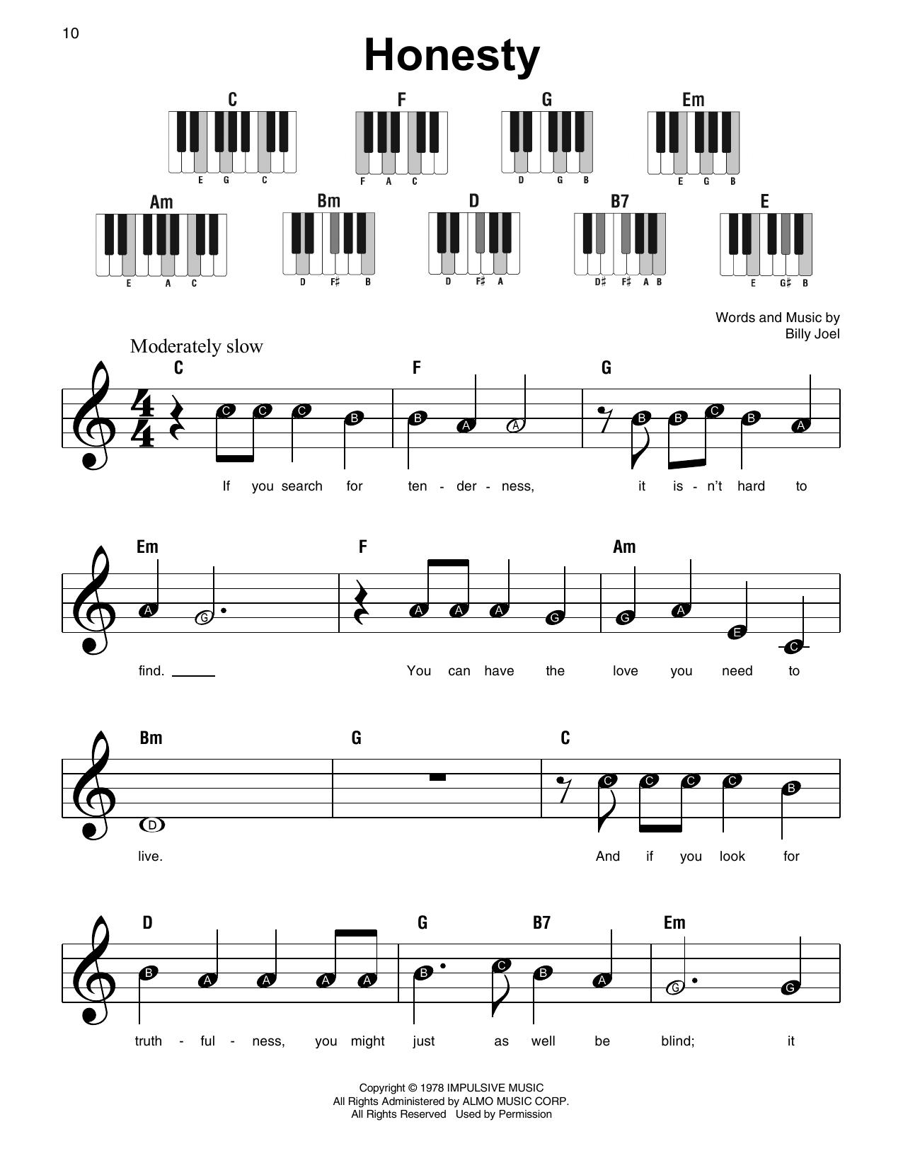 Honesty (Super Easy Piano)