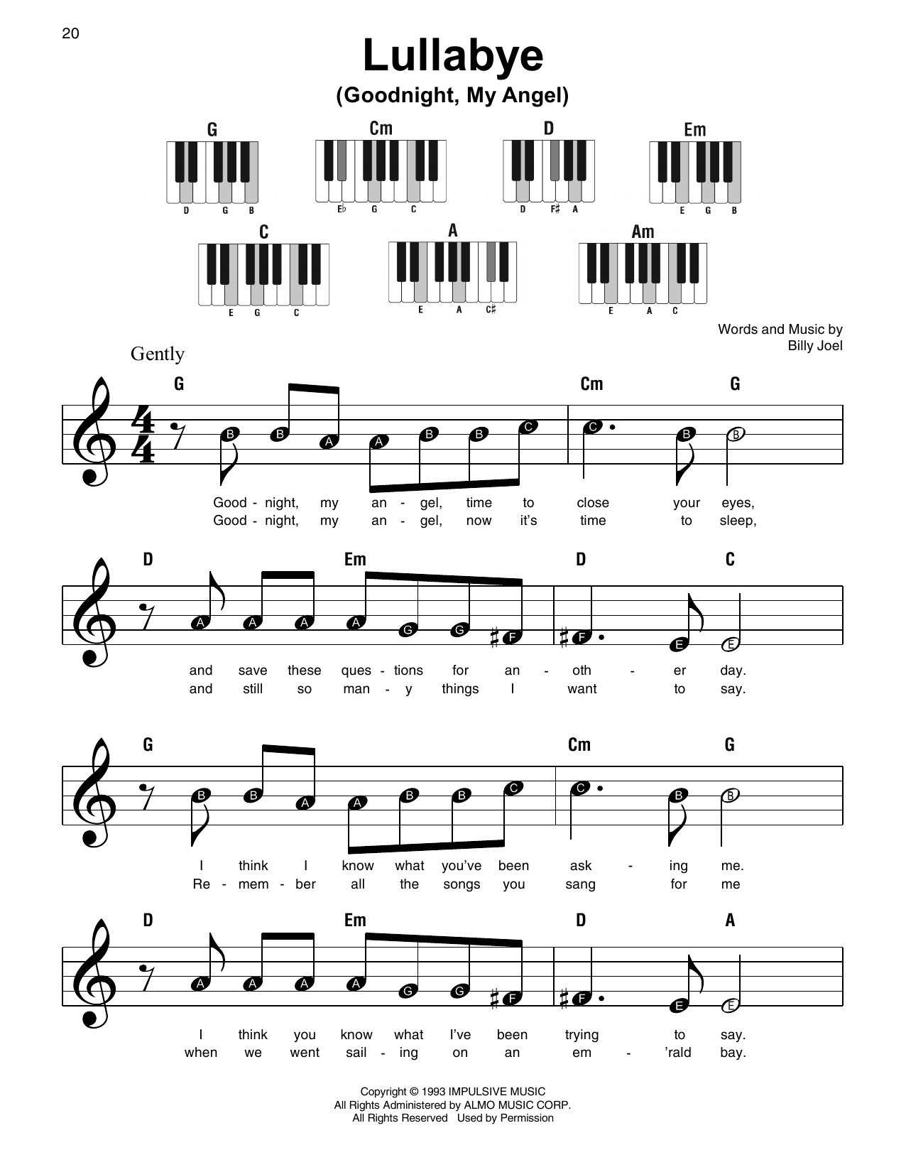 Lullabye (Goodnight, My Angel) (Super Easy Piano)