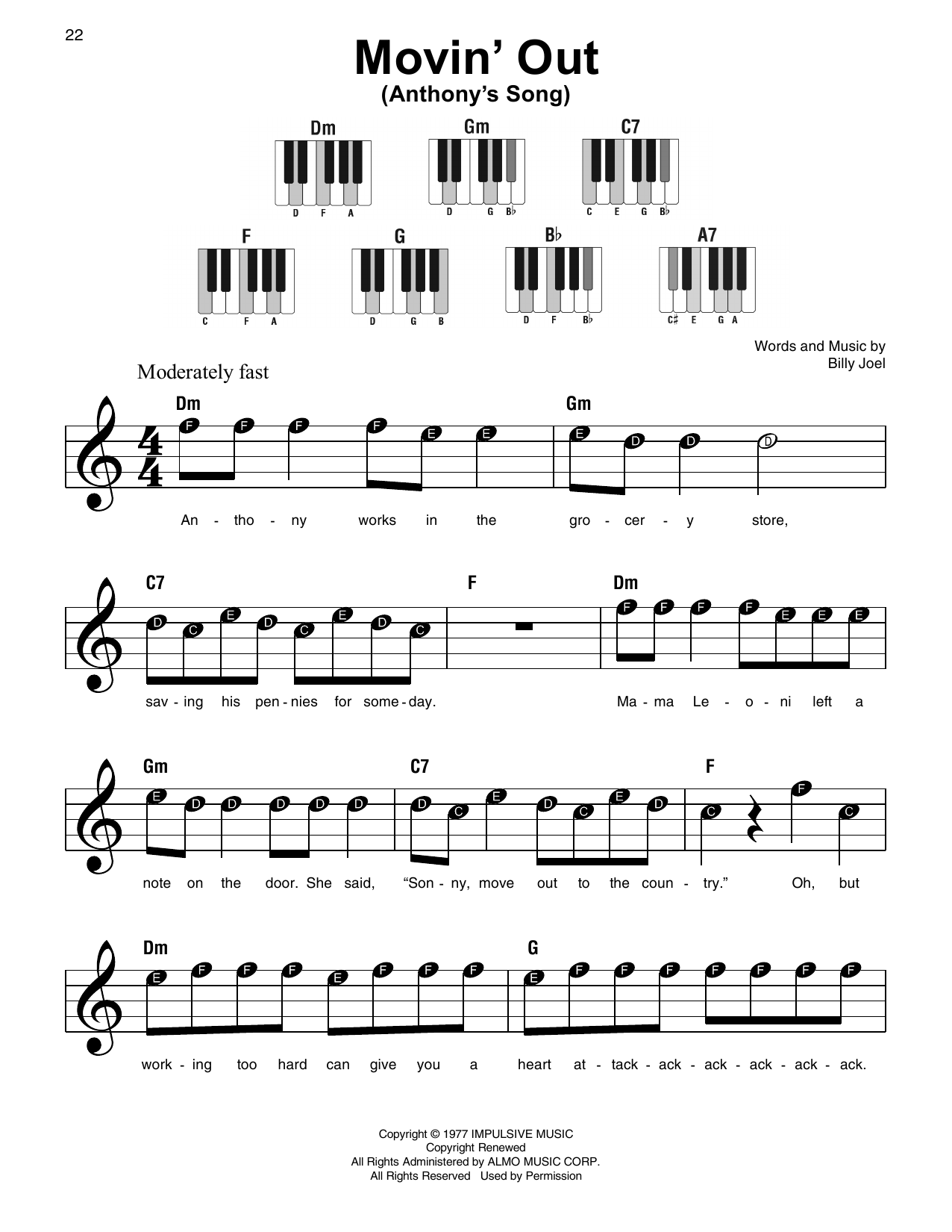 Movin' Out (Anthony's Song) (Super Easy Piano)