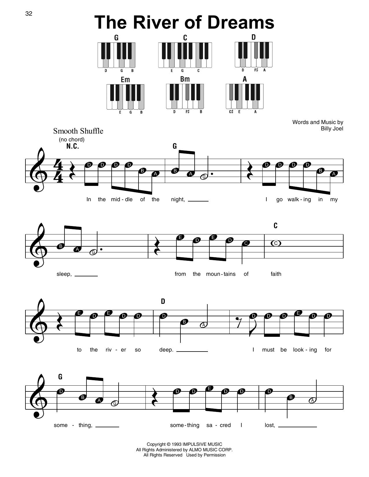 The River Of Dreams (Super Easy Piano)