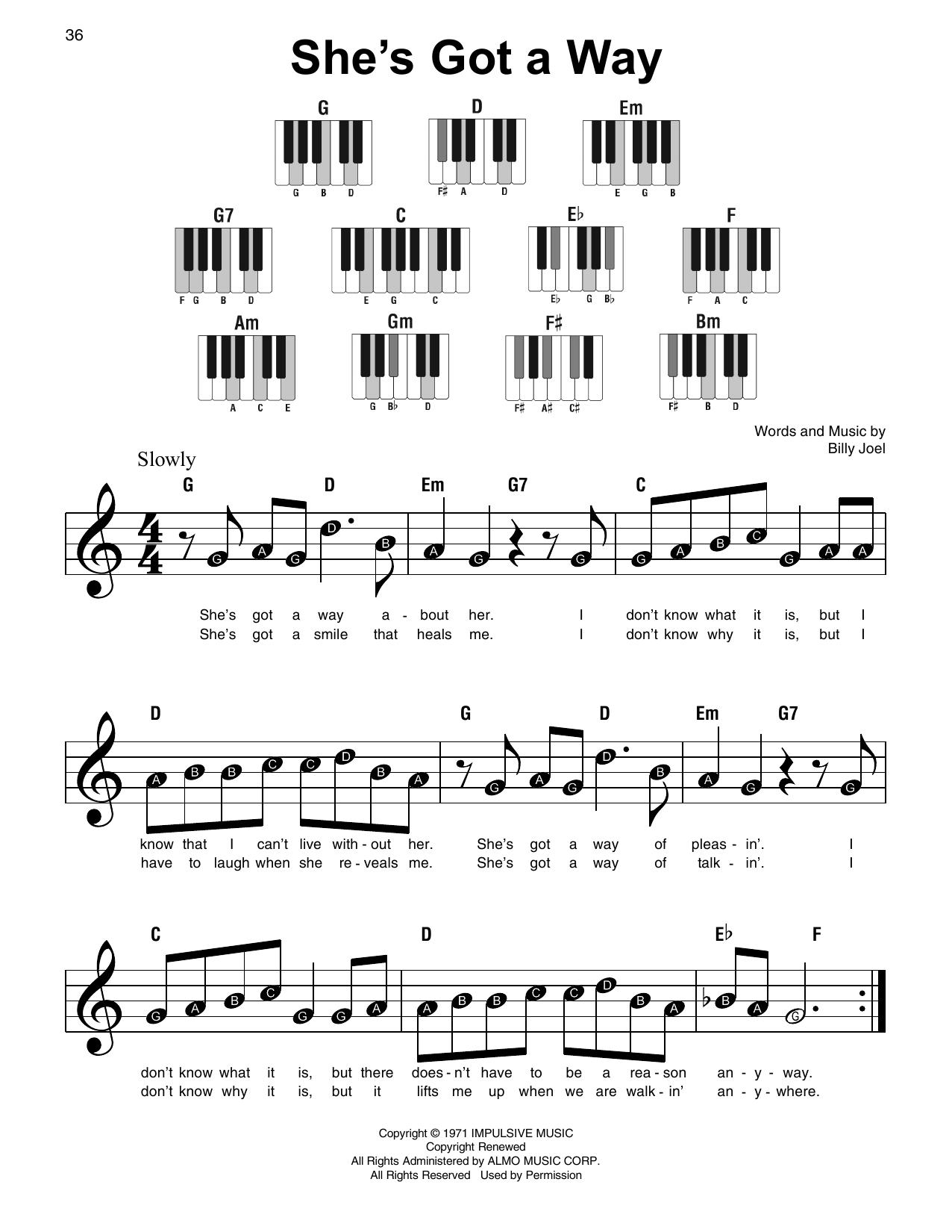 She's Got A Way (Super Easy Piano)
